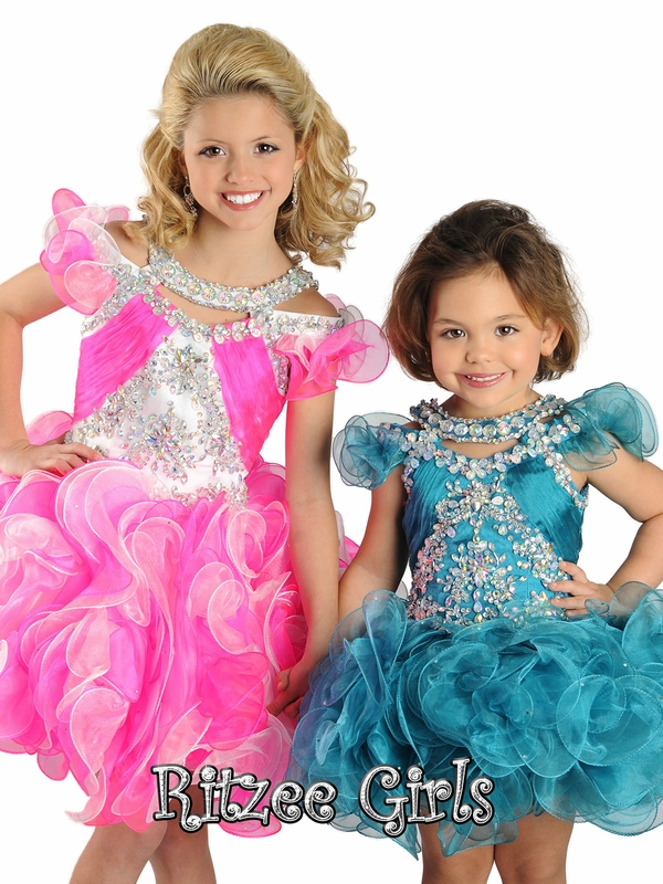 Halter Ruffled Shoulders Ritzee Girls Pageant Cupcake Gown B419 ...