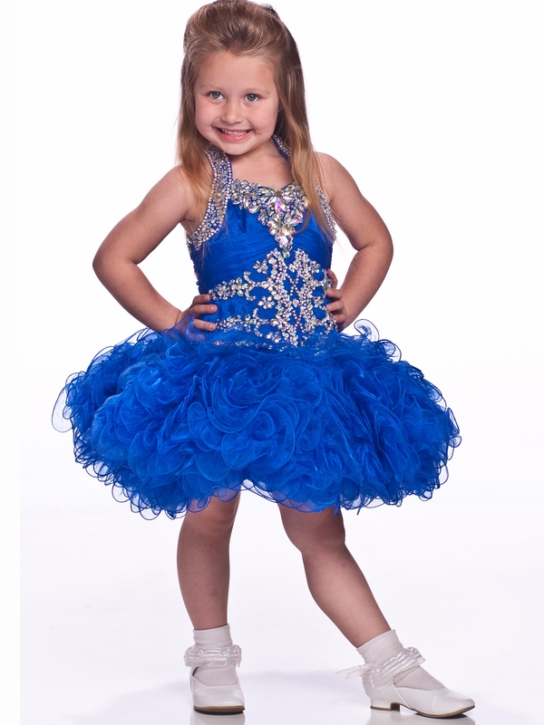 Halter Ruffled Skirt Girls Short Pageant Dress By Unique Fashion