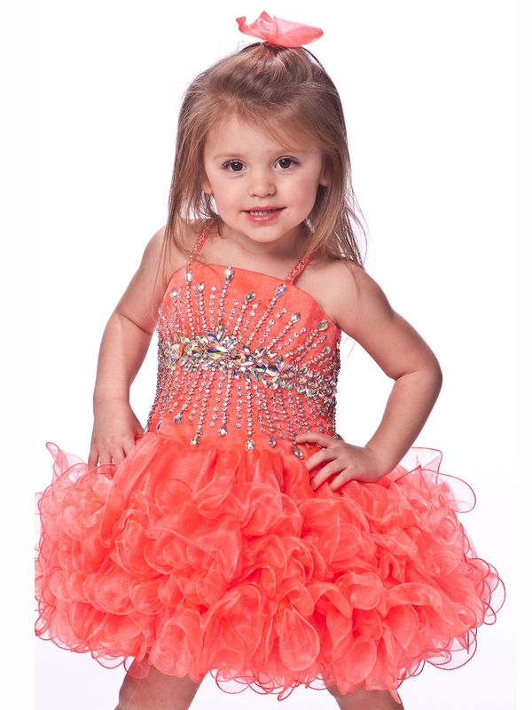 Ruffled Skirt Girls Short Pageant Dress By Unique Fashion UF1103 ...