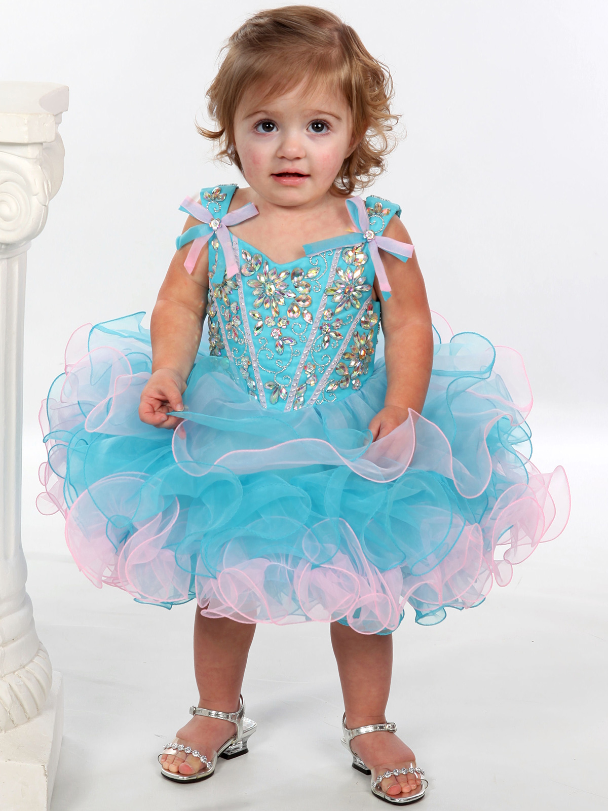 Floral Beaded Bodice Unique Fashion Cupcake Pageant Gown ...