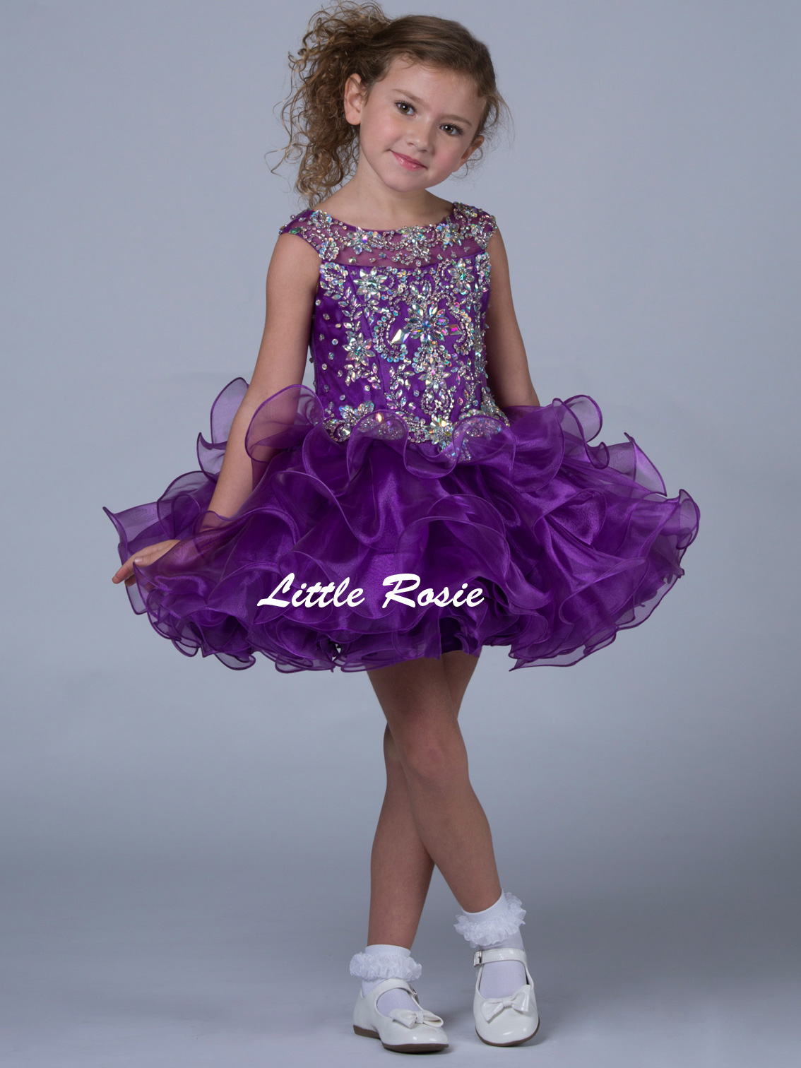 Little Rosie Pageant Cap Sleeves Pageant Dress SR313|PageantDesigns.com