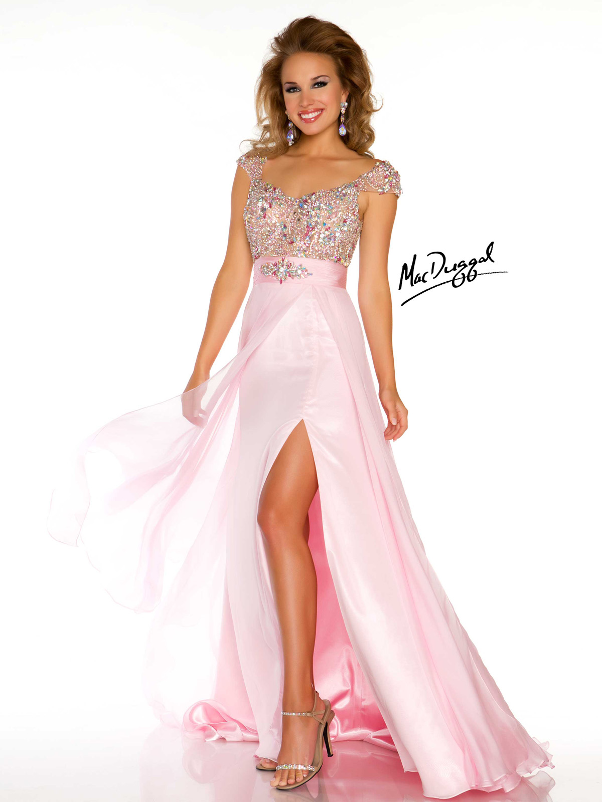 Capped Sleeve Beaded Bodice Pageant Dress Mac Duggal 42982P