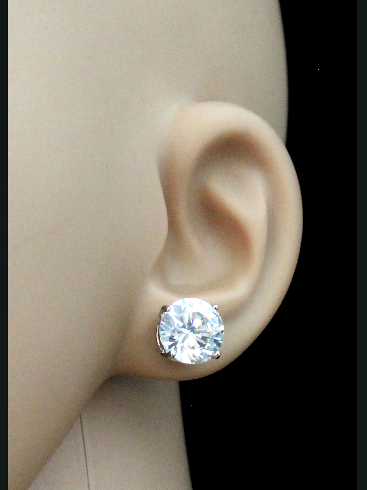 women sterling s tw in bernini w silver stud over earrings metallic cubic jewelry lyst zirconia t ct giani gold