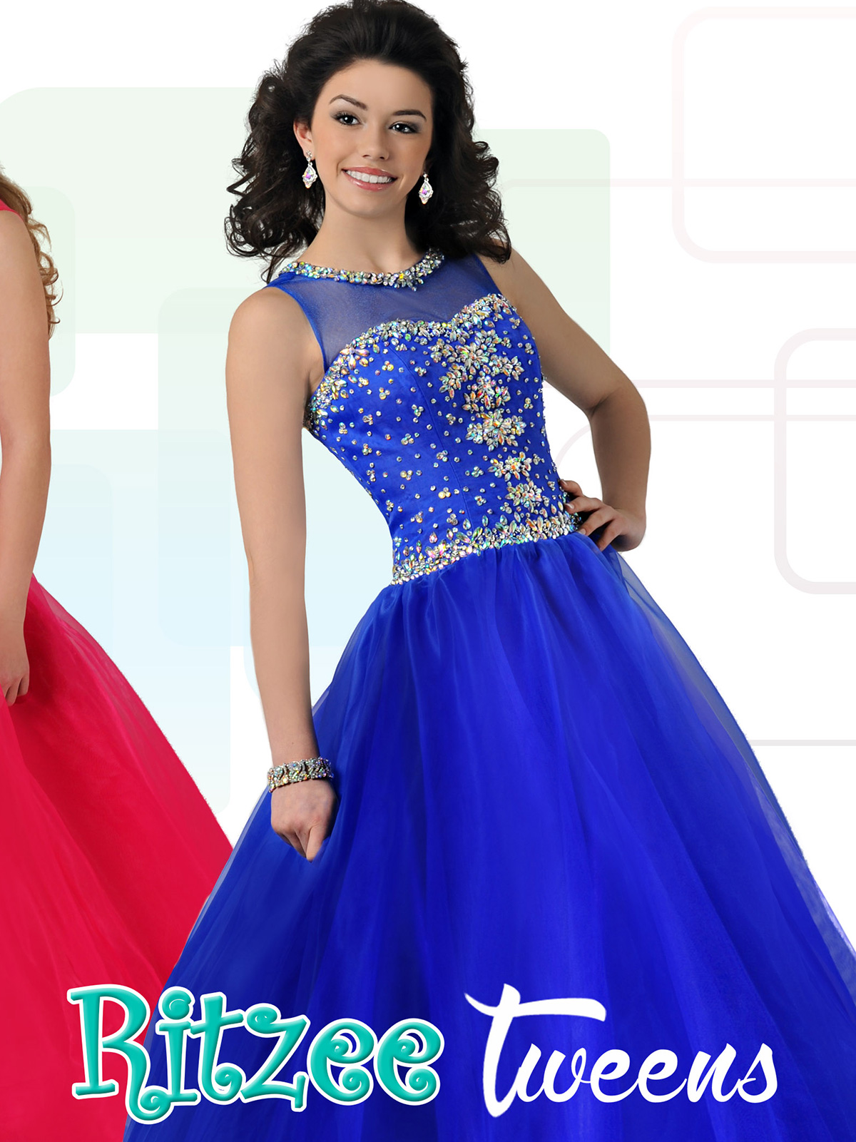 Ritzee Tween Beaded Pageant Ball Gown T704pageantdesigns