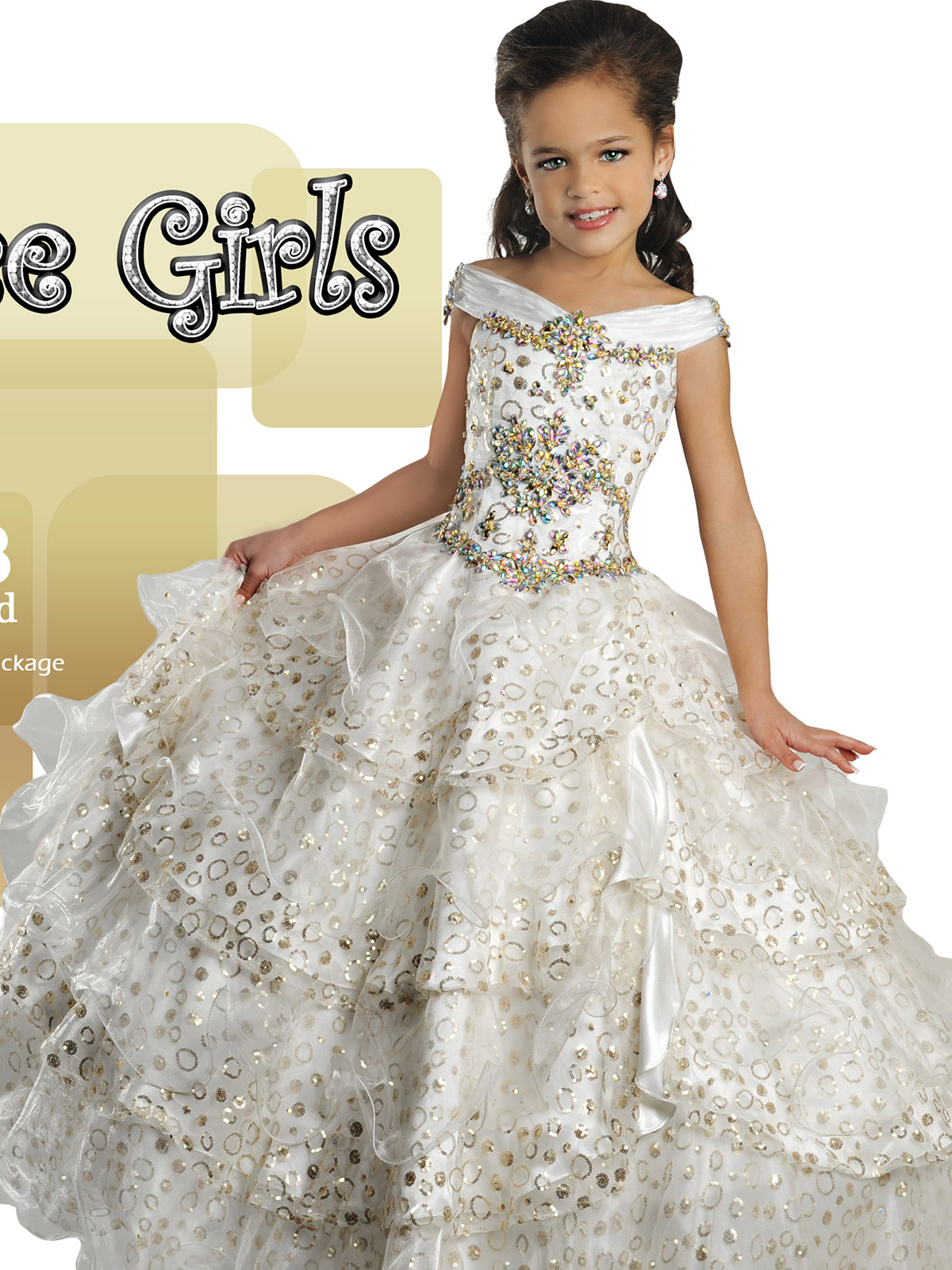 Gold Beaded Ritzee Girls Junior Pageant Dress 7018|PageantDesigns.com