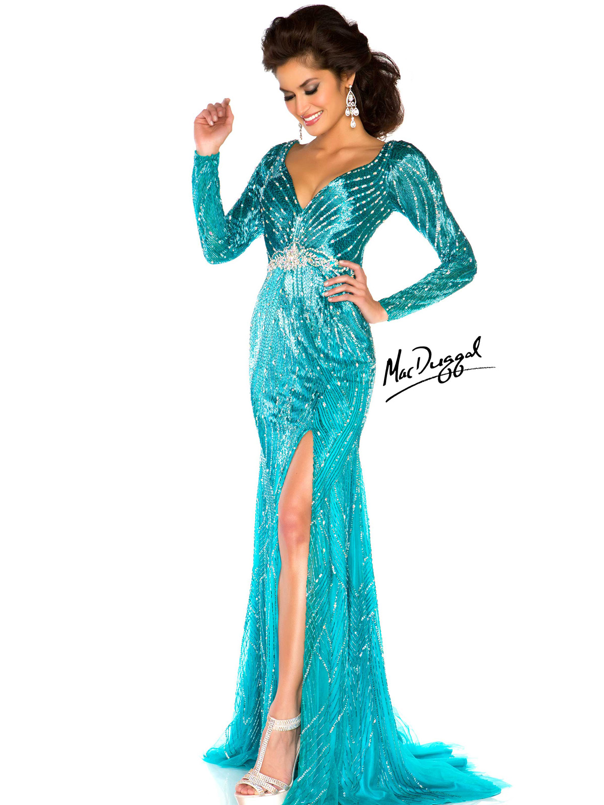 012dff88e2b Jaw Dropping Fully Beaded Fitted Gown With High Thigh Split Mac Duggal  Pageant 76513P