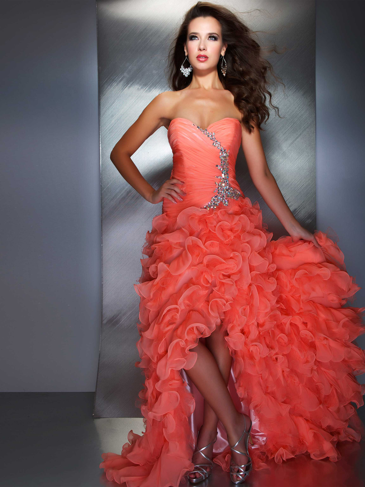 Salmon High Low Mac Duggal Prom Pageant Gown 6149M: PageantDesigns.com