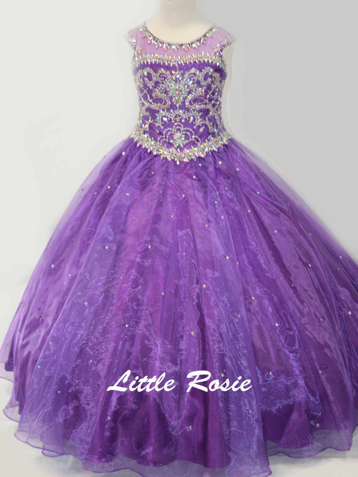 Little Rosie LR2101 Beaded Bodice Girl\'s Long Pageant Dress ...