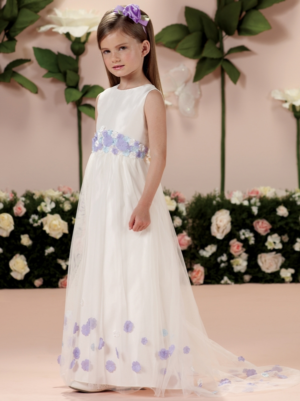 Full Length 3d Waist Flowers Joan Calabrese Girls Formal Gown 114336