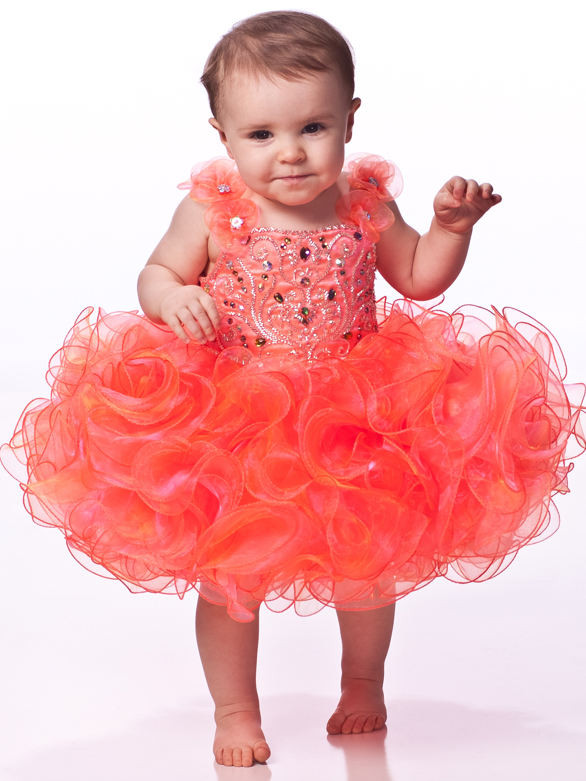 Beaded Floral Straps Baby Pageant Dress By Unique Fashion UFB020