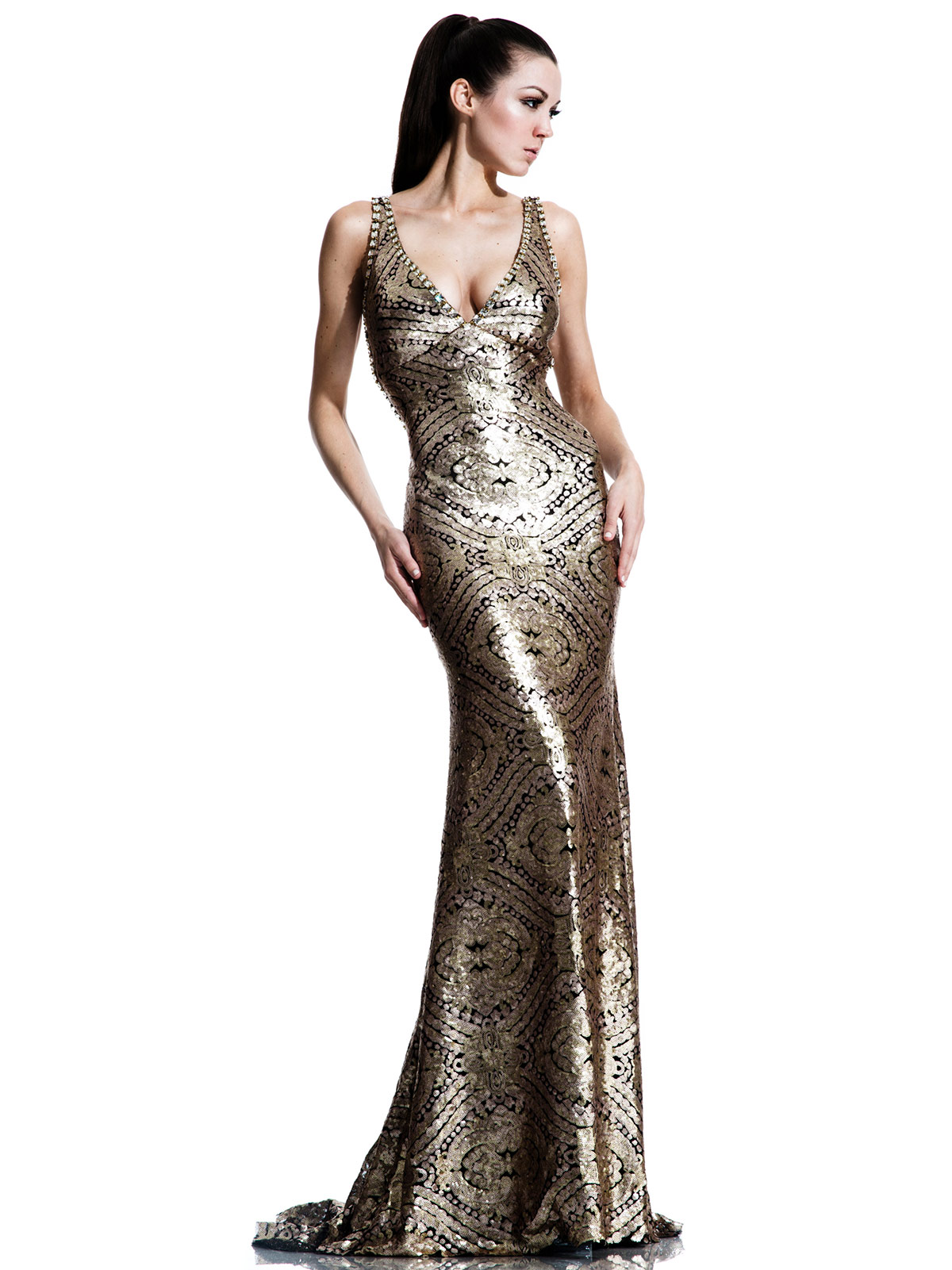 e1568516b359 Johnathan Kayne 537 Sheath Gold Pageant Dress