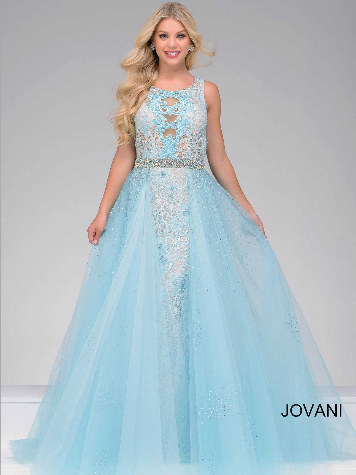 Jovani 36805 Lace Tulle Pageant Dress|PageantDesigns.com