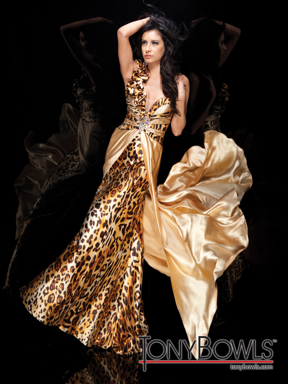Leopard V Neck Tony Bowls Evening Dress TBE21114: PageantDesigns.com
