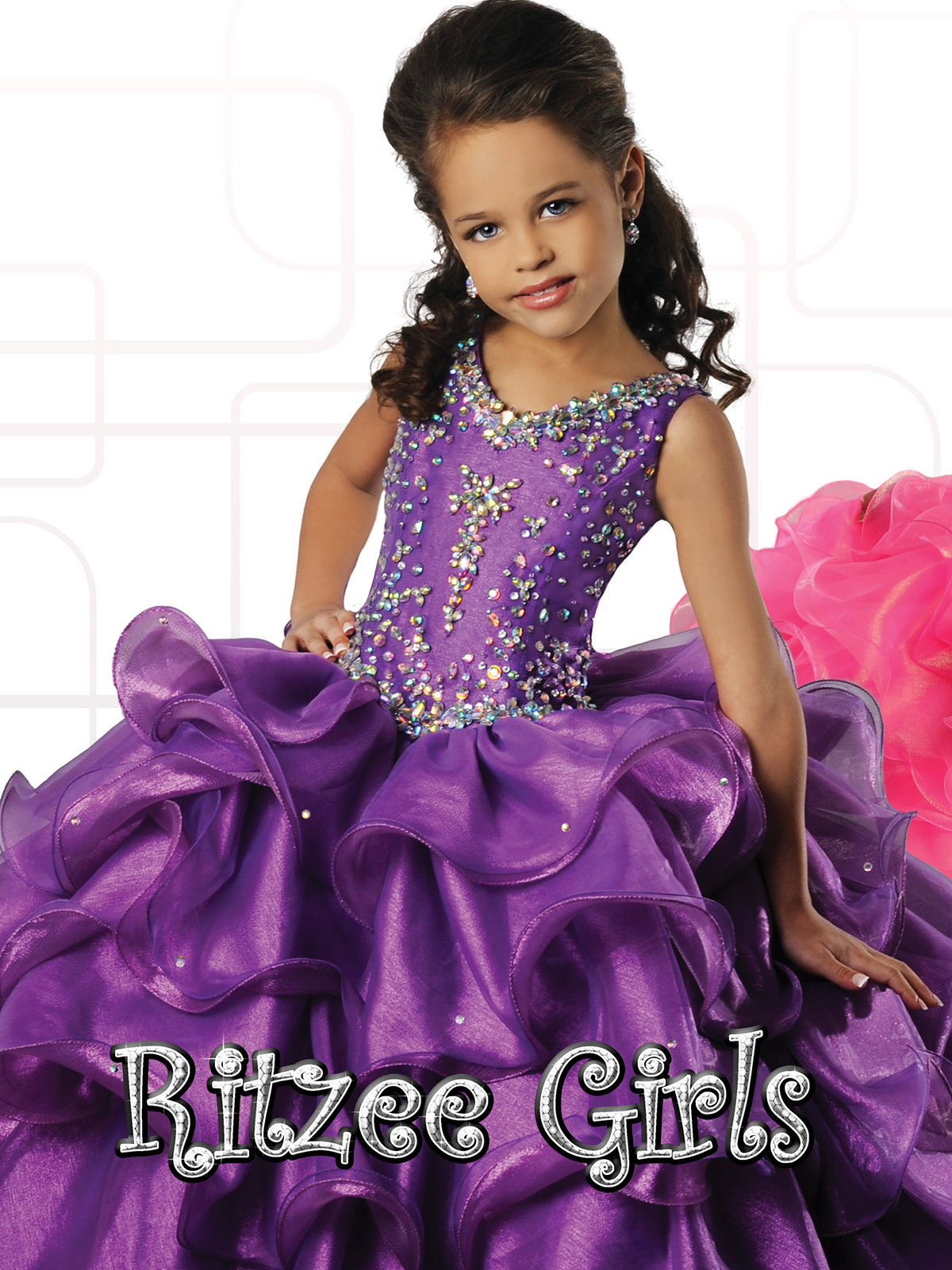 Ritzee Girls Ruffled Skirt Pageant Gown 7022|PageantDesigns.com