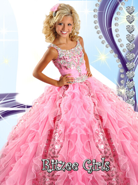 White Ritzee Girls National Level Pageant Dress 6454 ...