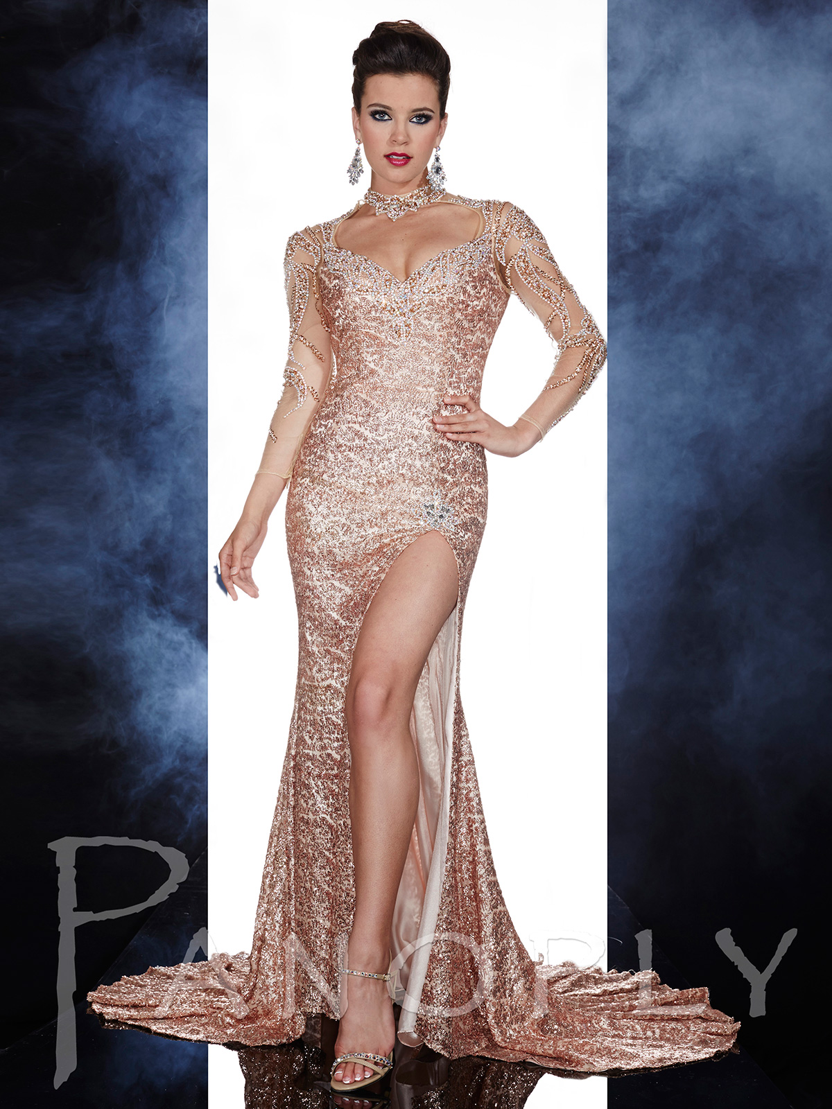 Long Sleeves Sequin Pageant Gown Panoply 14600|PageantDesigns.com