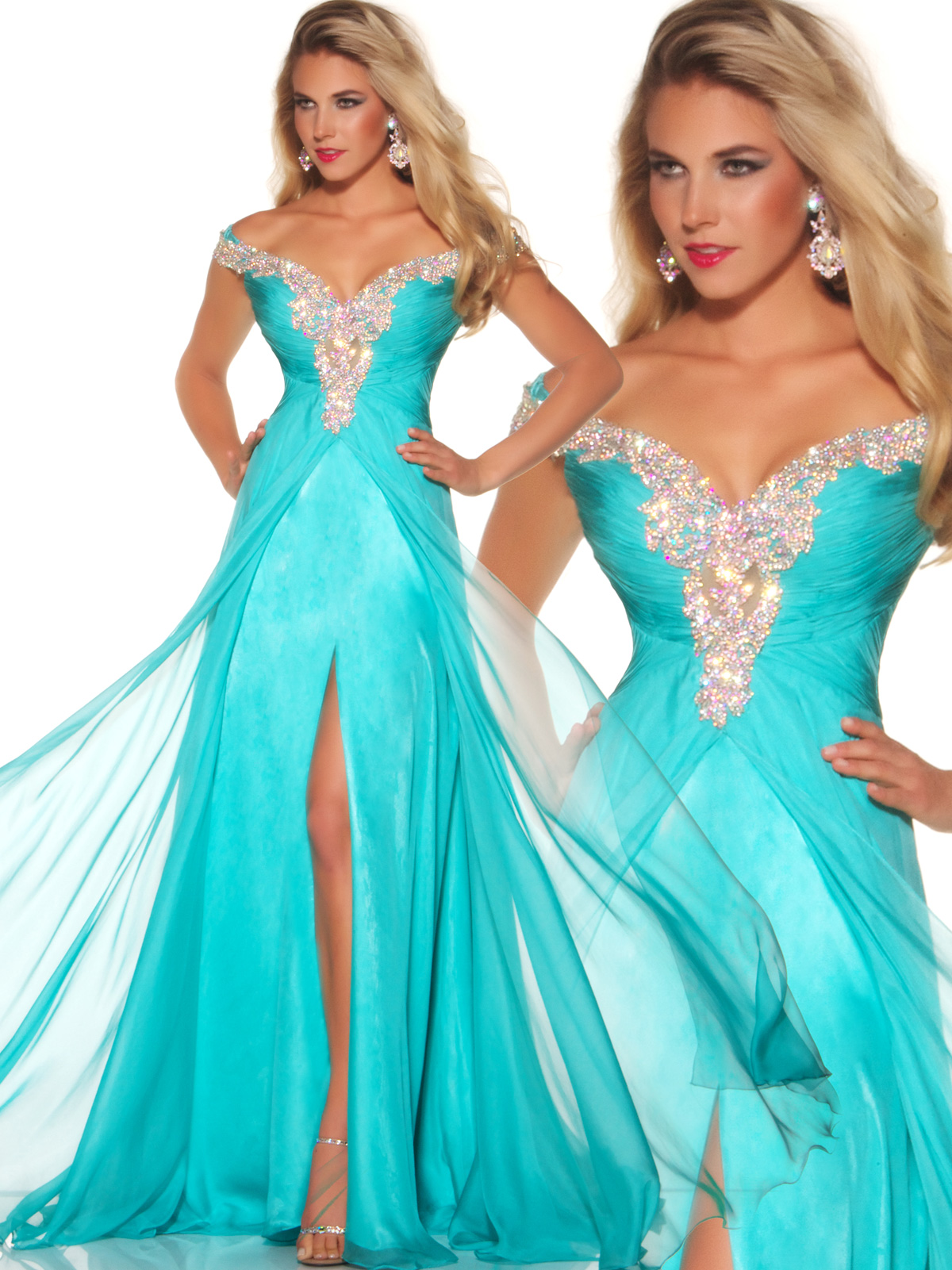 Mac Duggal Aqua Pageant Gown 81636P: PageantDesigns.com