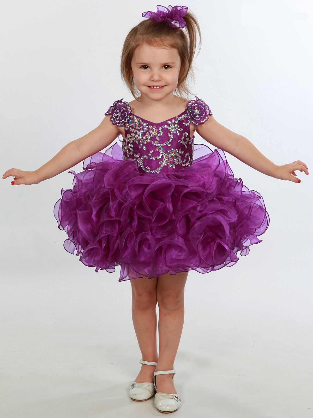 Floral Beaded Bodice Baby Unique Fashion Pageant Gown ...