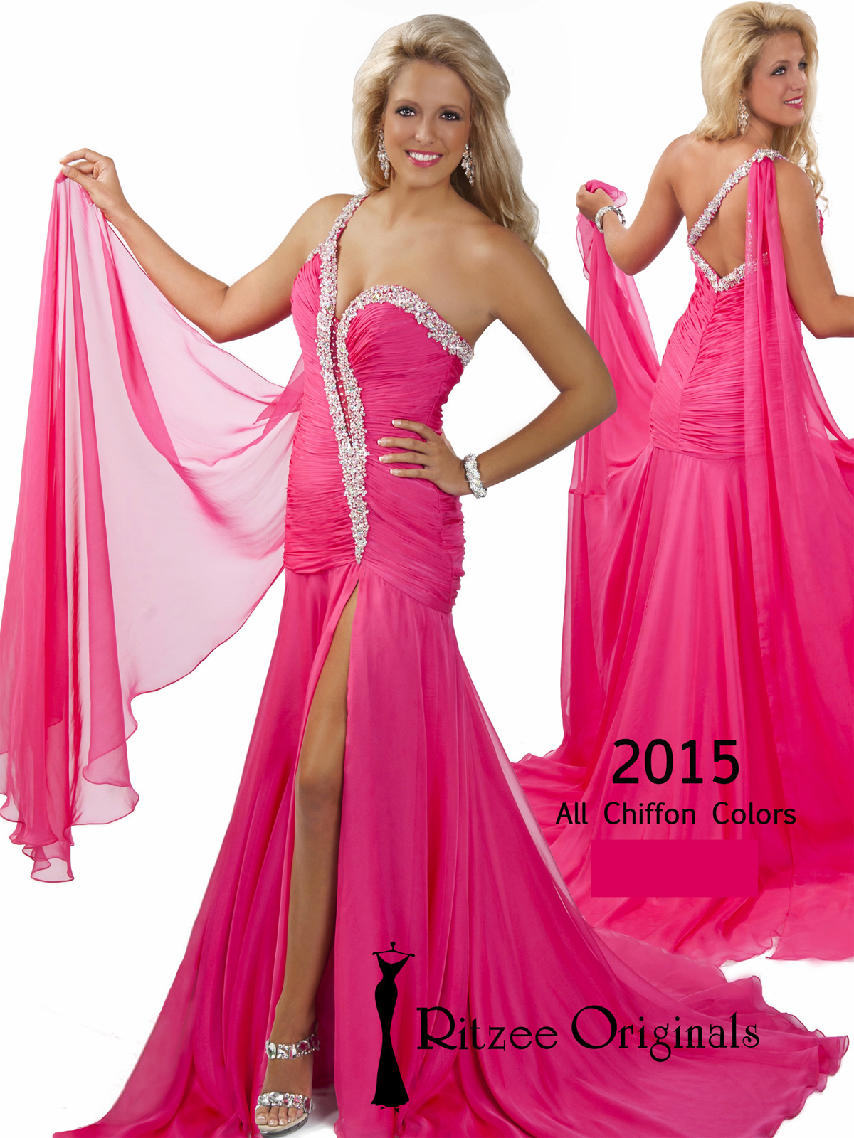 Floor Length Ruched Ritzee Originals Pageant Dress 2015 ...