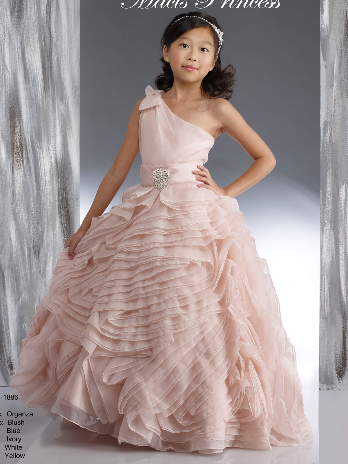 One Shoulder Layered Skirt Pageant Dress Macis Design 1886 ...