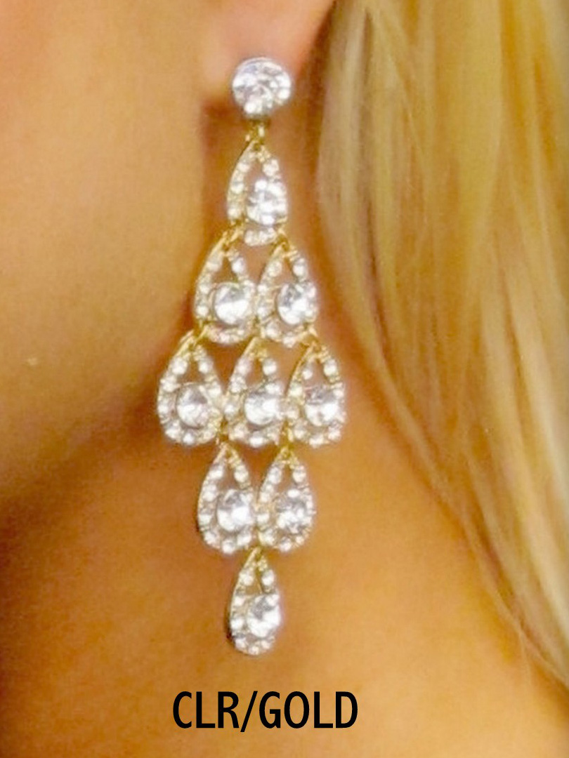 Ornamented Tiered Chandelier Pageant Earrings 2531 By Carole Fay