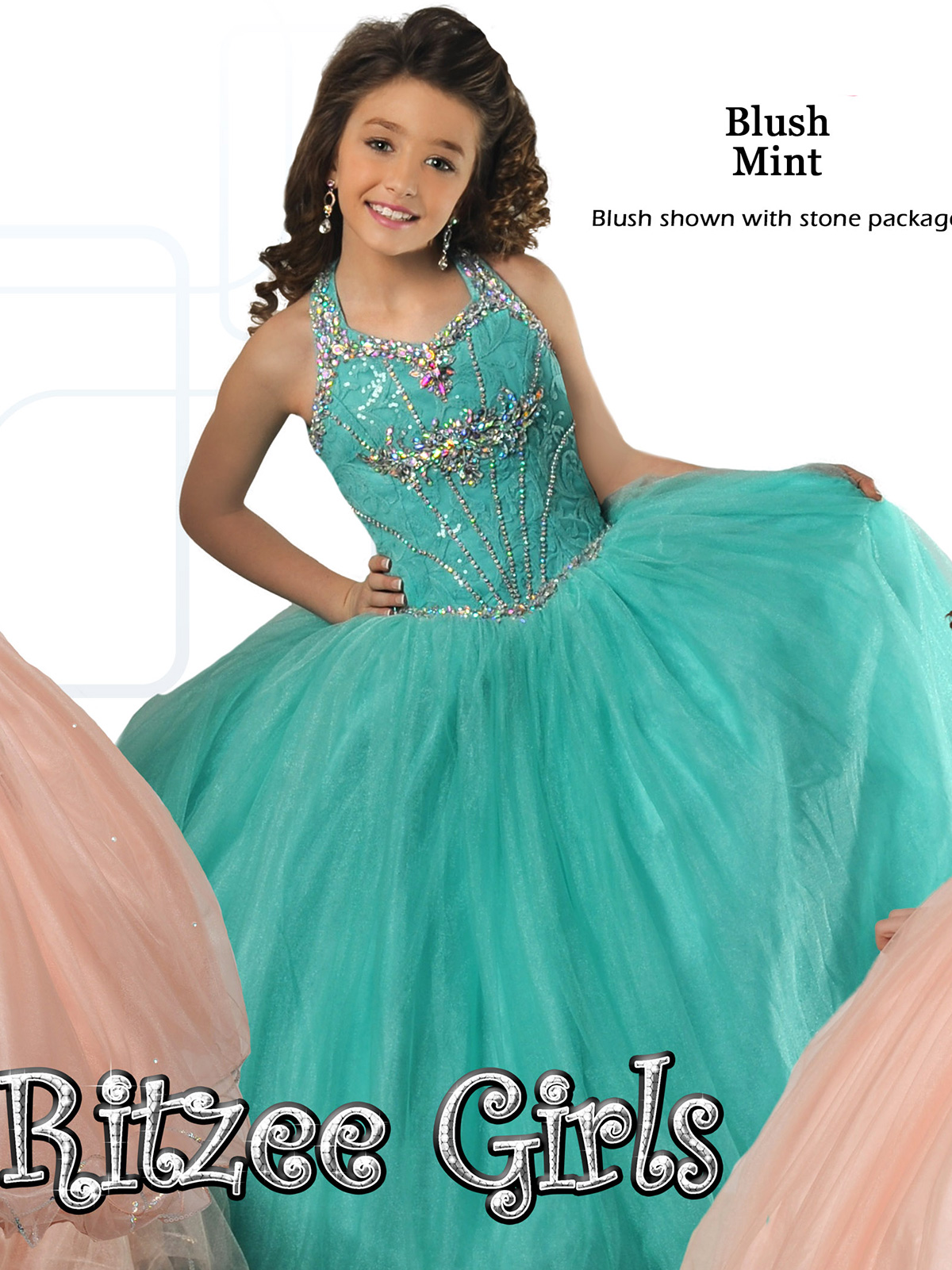 Soft Colored Ritzee Girls Pageant Dress 7026|PageantDesigns.com