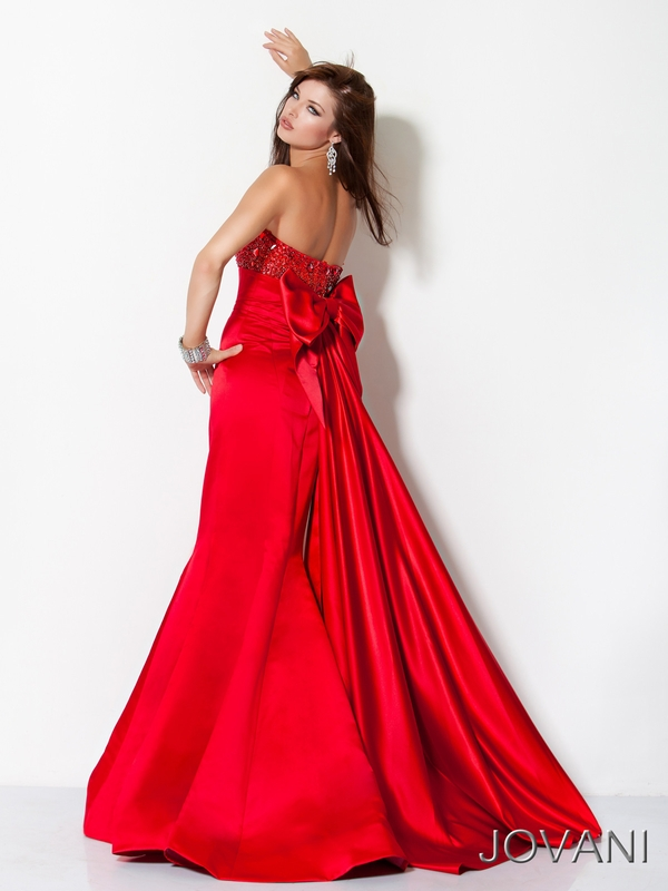 Red Strapless Bow Detail Pageant Dress Jovani 3447: PageantDesigns.com