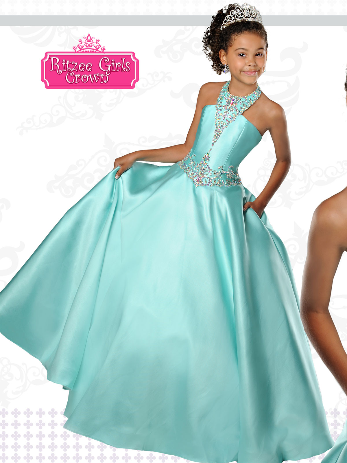 Ritzee Crown Collection C102 Mikado Pageant Gown|PageantDesigns.com