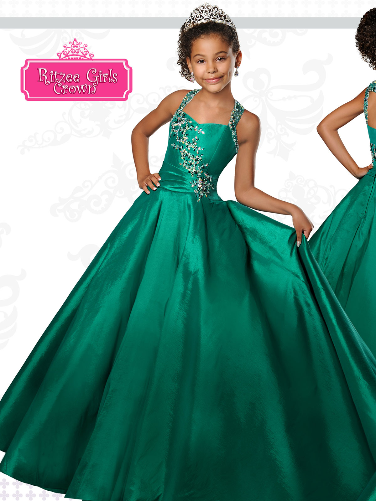 Ritzee Girls Long Winning Pageant Dresses for Girls | PageantDesigns.com