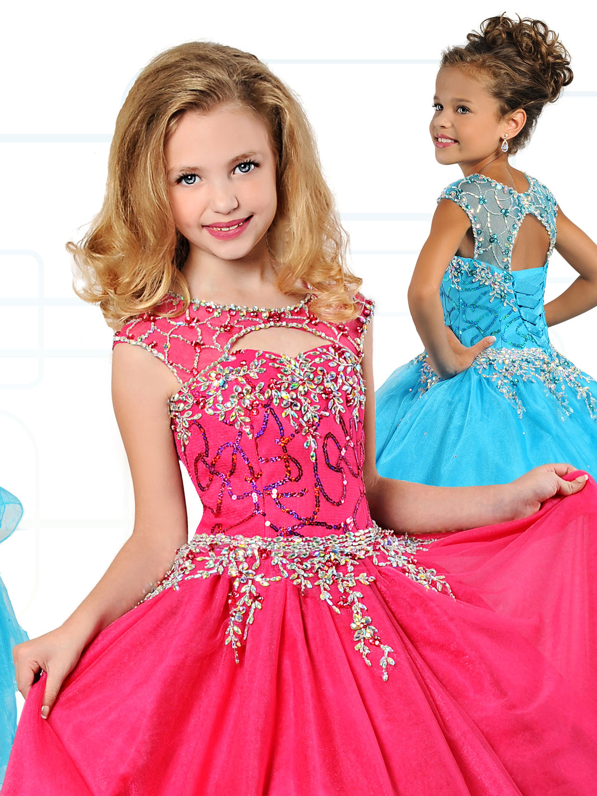 Ritzee Girls 7129 Cap Sleeves Ball Gown Dress|PageantDesigns.com