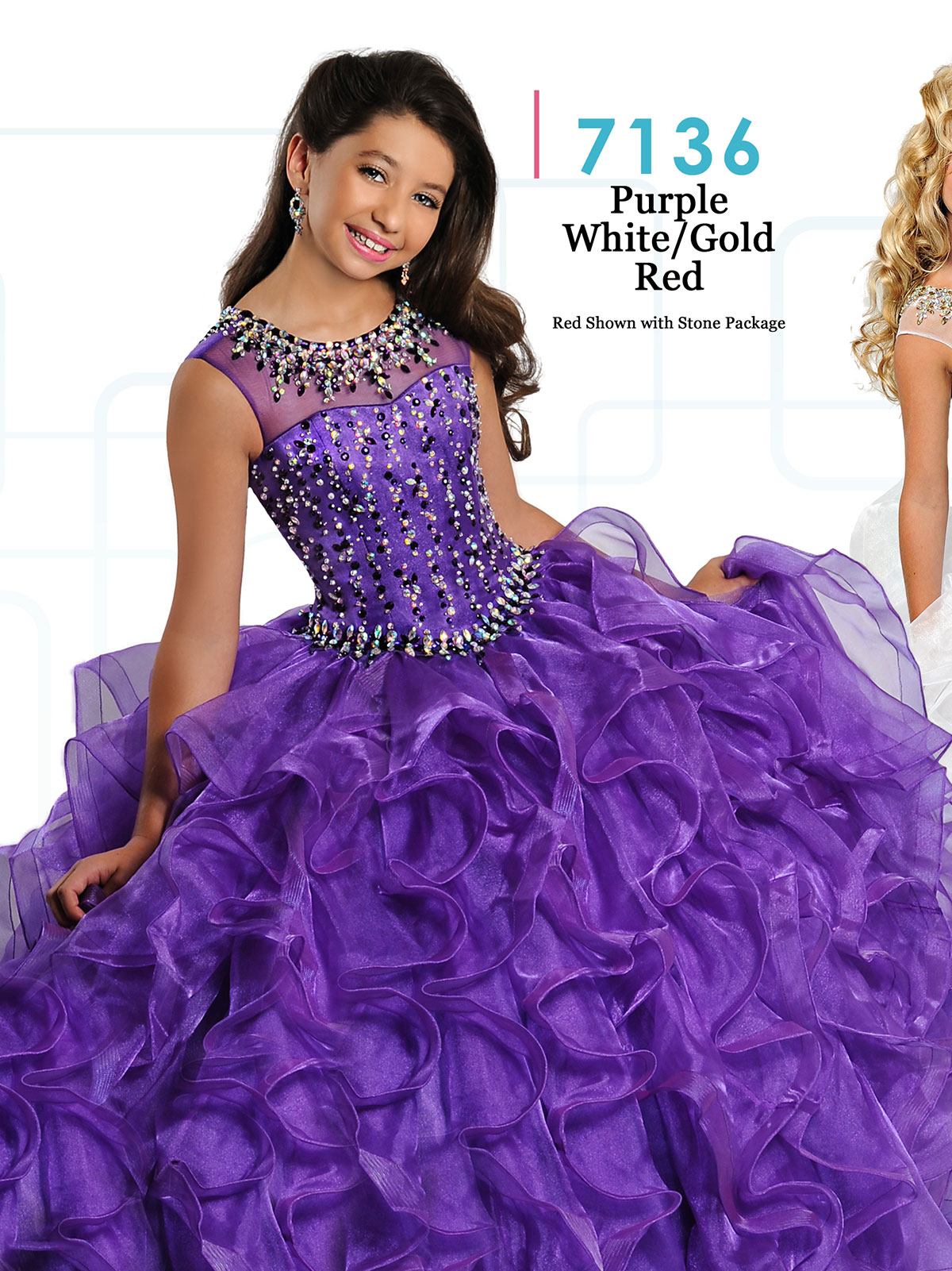 Ritzee Girls 7136 Cap Sleeves Ball Gown Dress|PageantDesigns.com