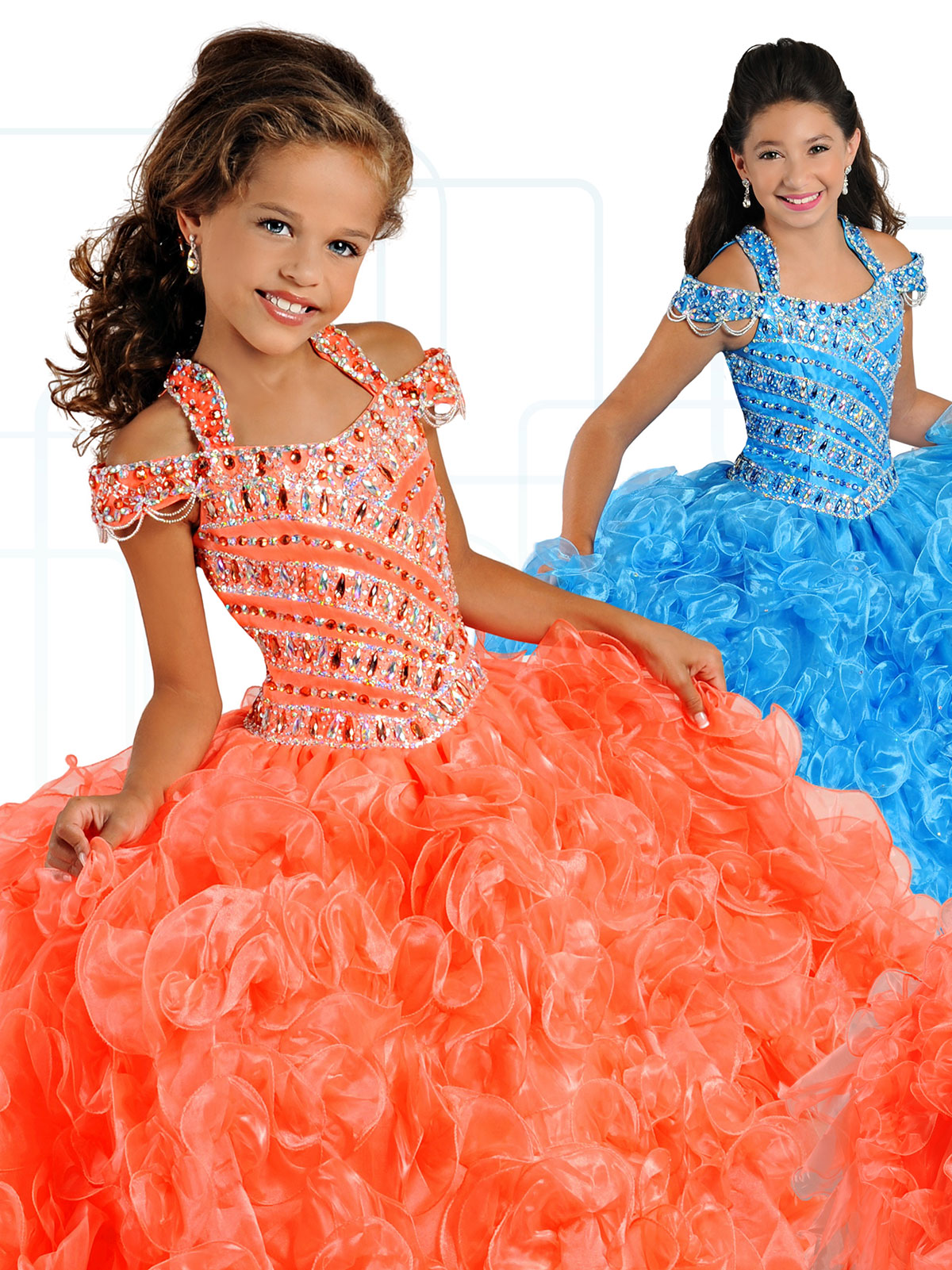 Ritzee Girls 7137 Off The Shoulder Pageant Dress