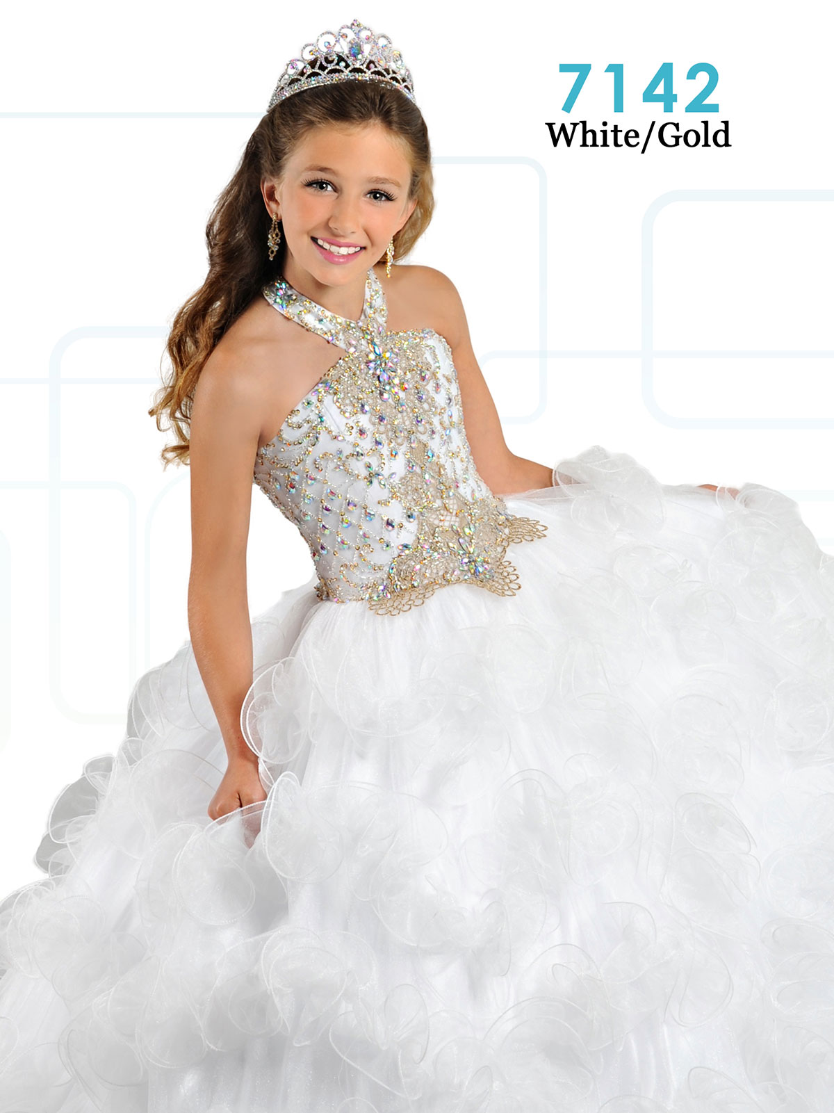 Ritzee Girls 7142 Halter Beaded Ball Gown Dress|PageantDesigns.com