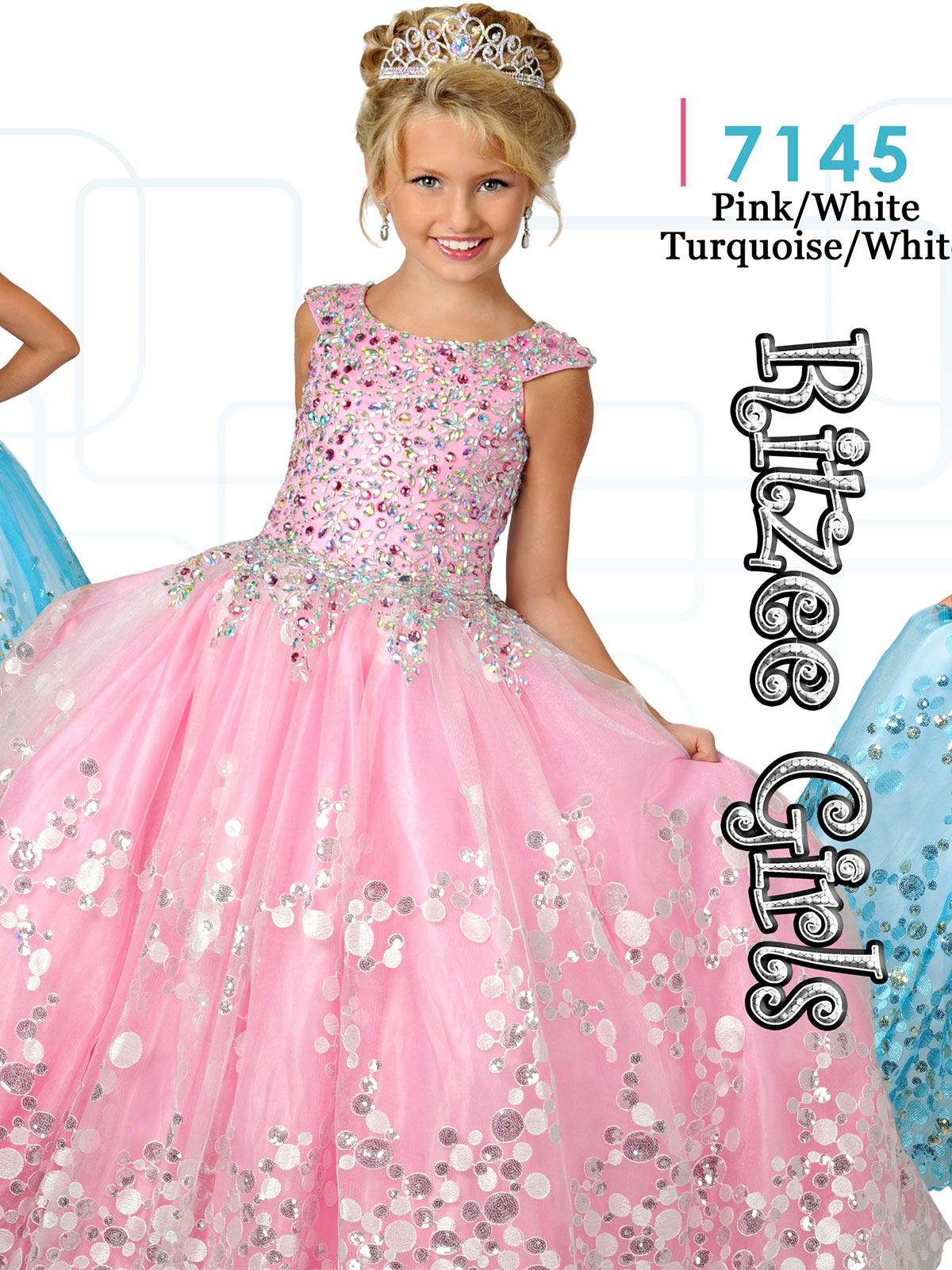 Ritzee Girls 7145 Cap Sleeves Ball Gown Dress|PageantDesigns.com