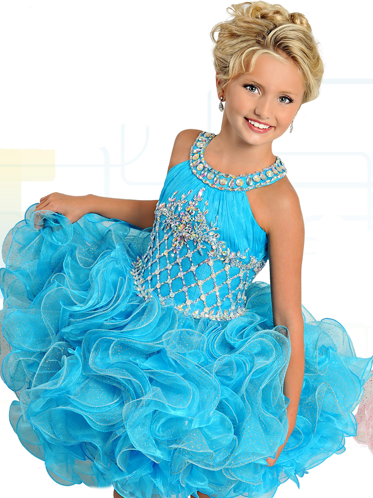 Ritzee Girls B740 Glittering Skirt Cupcake Pageant Dress ...