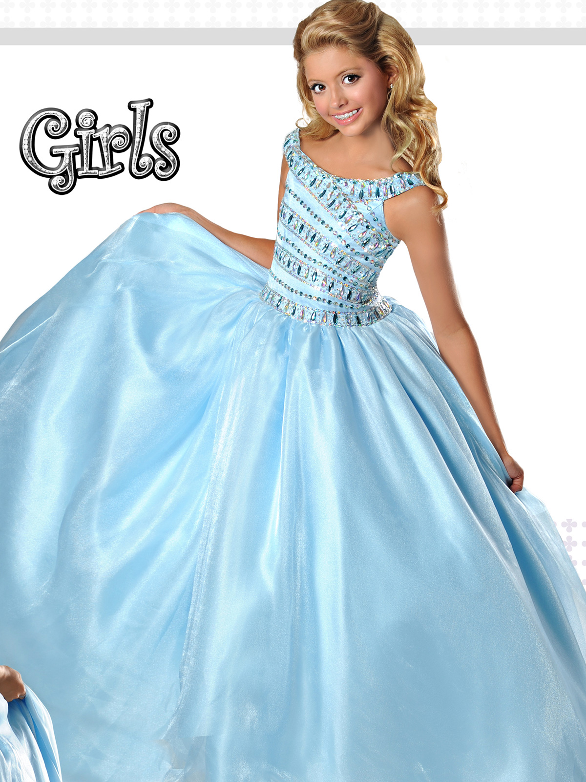 Ritzee Girls 7366 Crystal Organza Pageant Dress|Pageantdesigns.com
