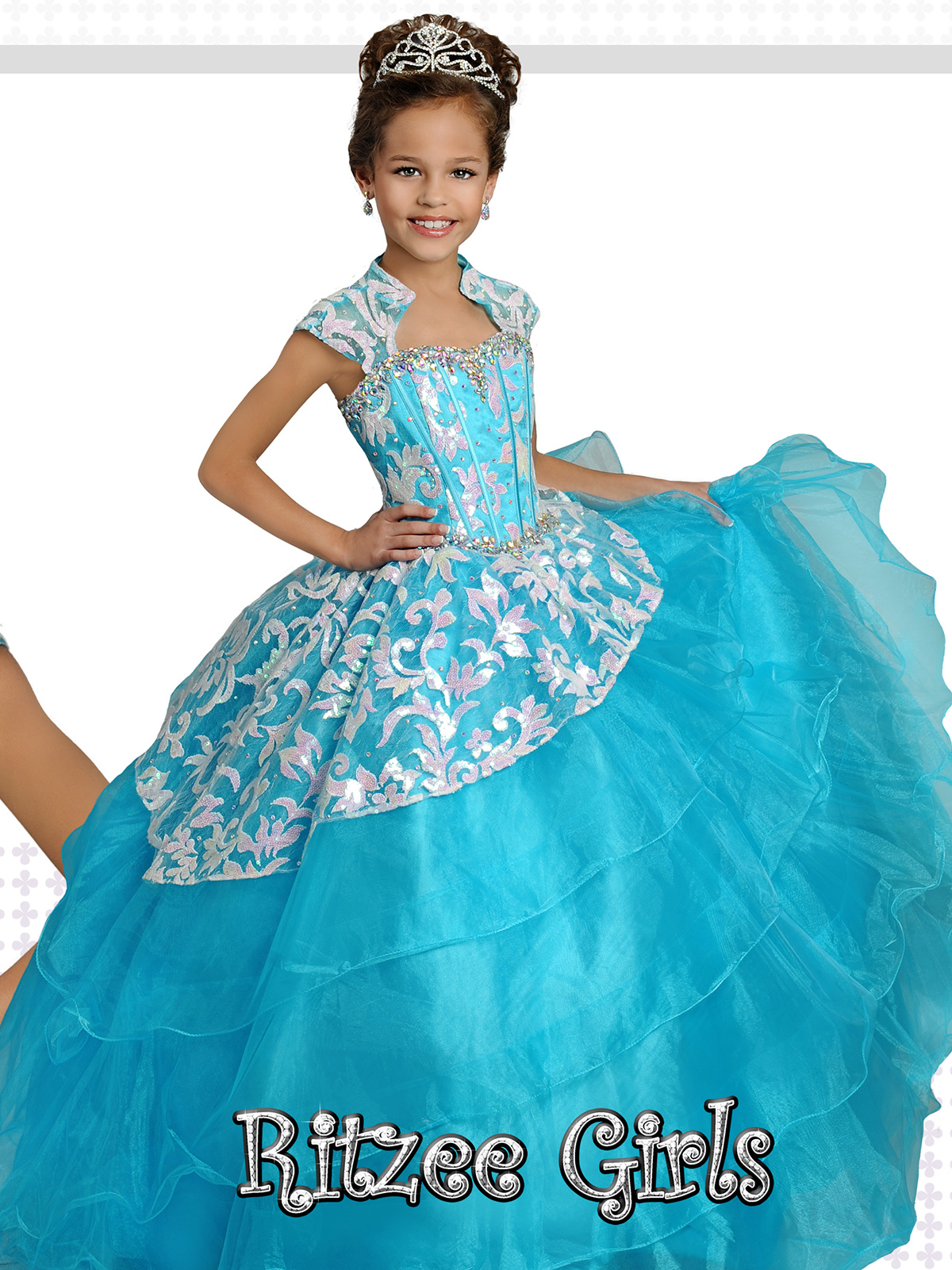 Ritzee Girls 7256 Ruffled Sequin Lace Pageant Dress|Pageantdesigns.com