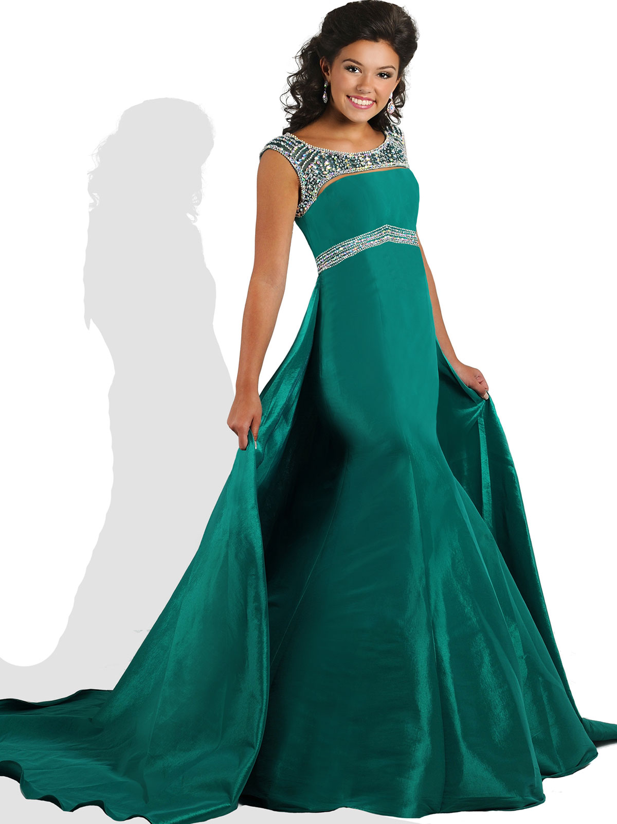 Ritzee Tweens Teen T810 Beaded Taffeta Mermaid Pageant Dress ...