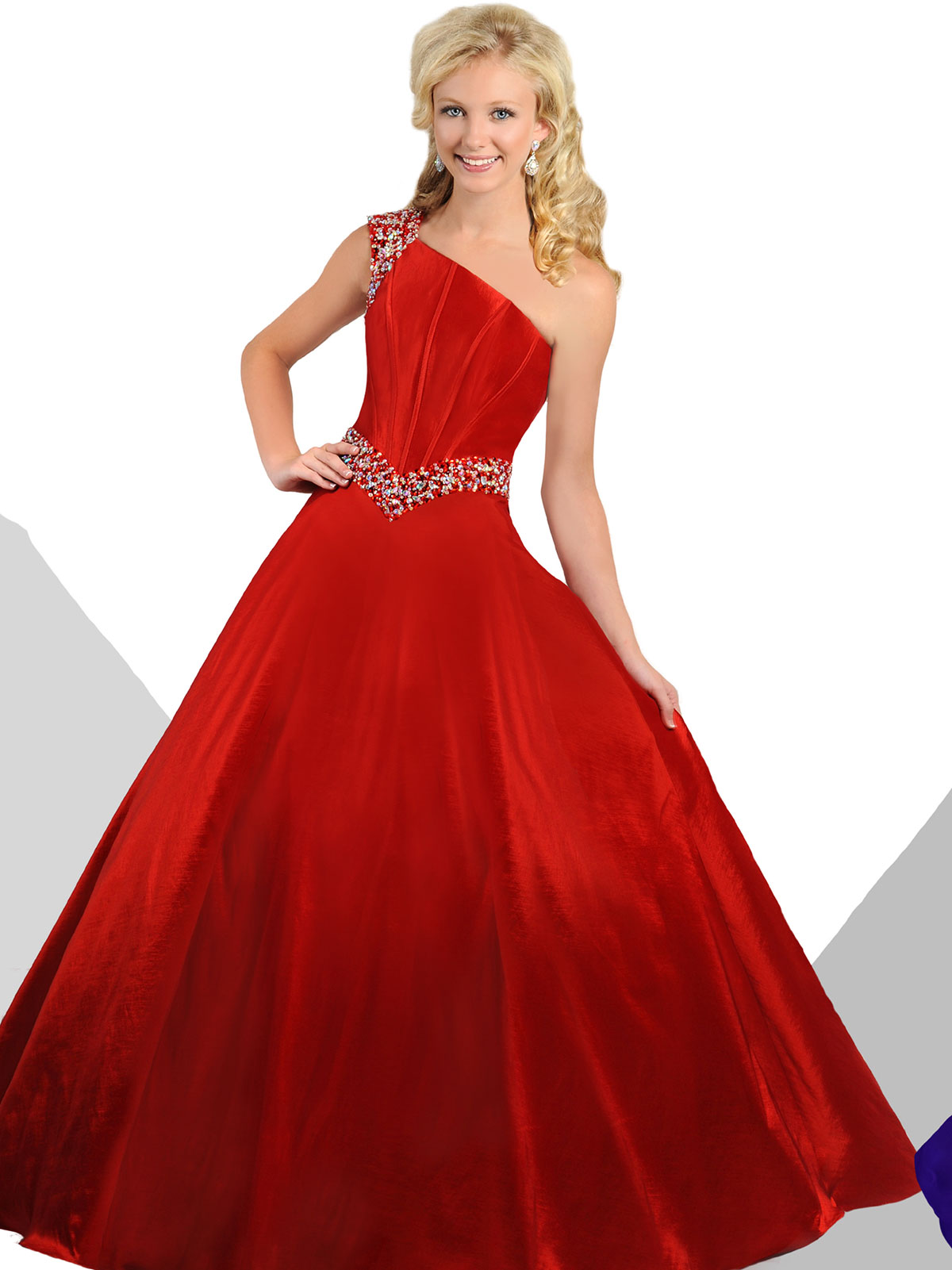 Ritzee Tweens Teen T813 One Shoulder Taffeta Ball Gown Dress ...
