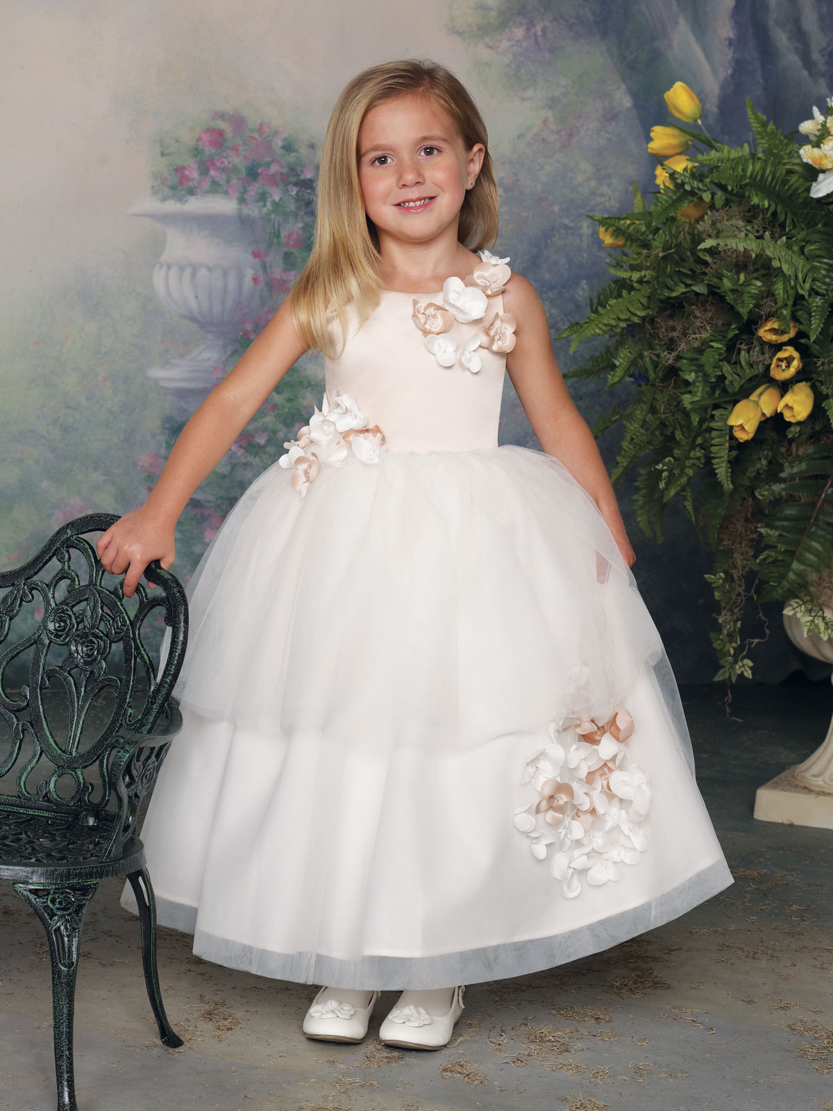 Tea Length Satin And Tulle Girls Formal Dress Joan Calabrese ...