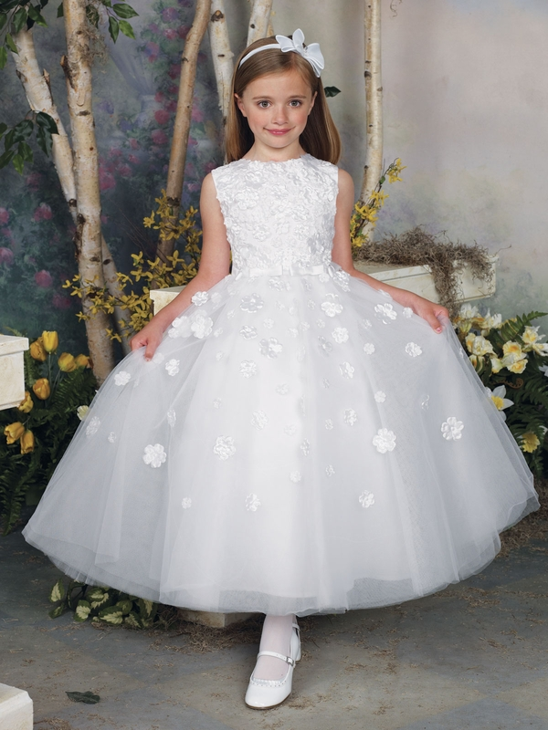 Tea Length Tulle Girls Formal Dress Joan Calabrese 112309