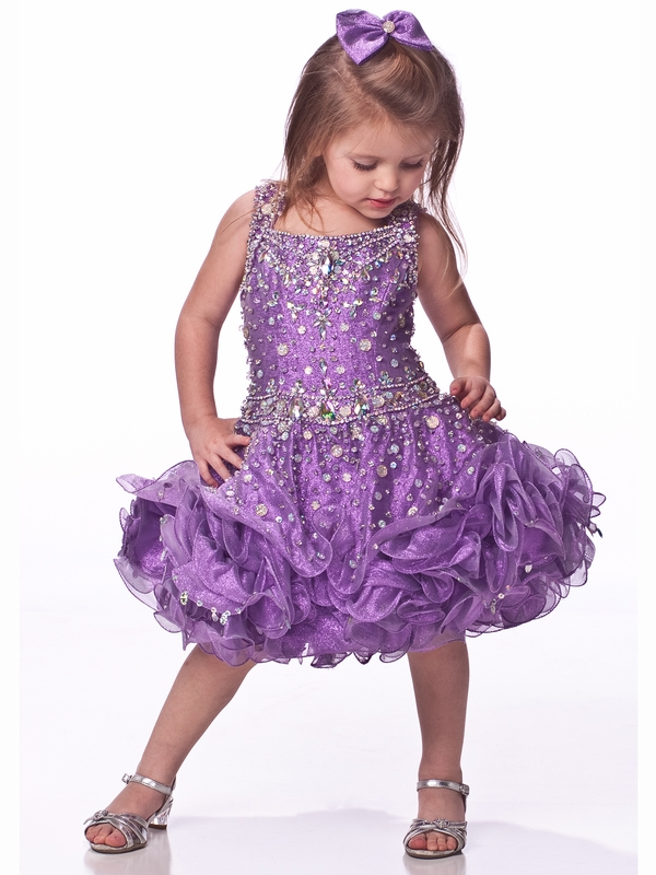 Beaded Straps Girls Short Pageant Dress By Unique Fashion UF1102 ...
