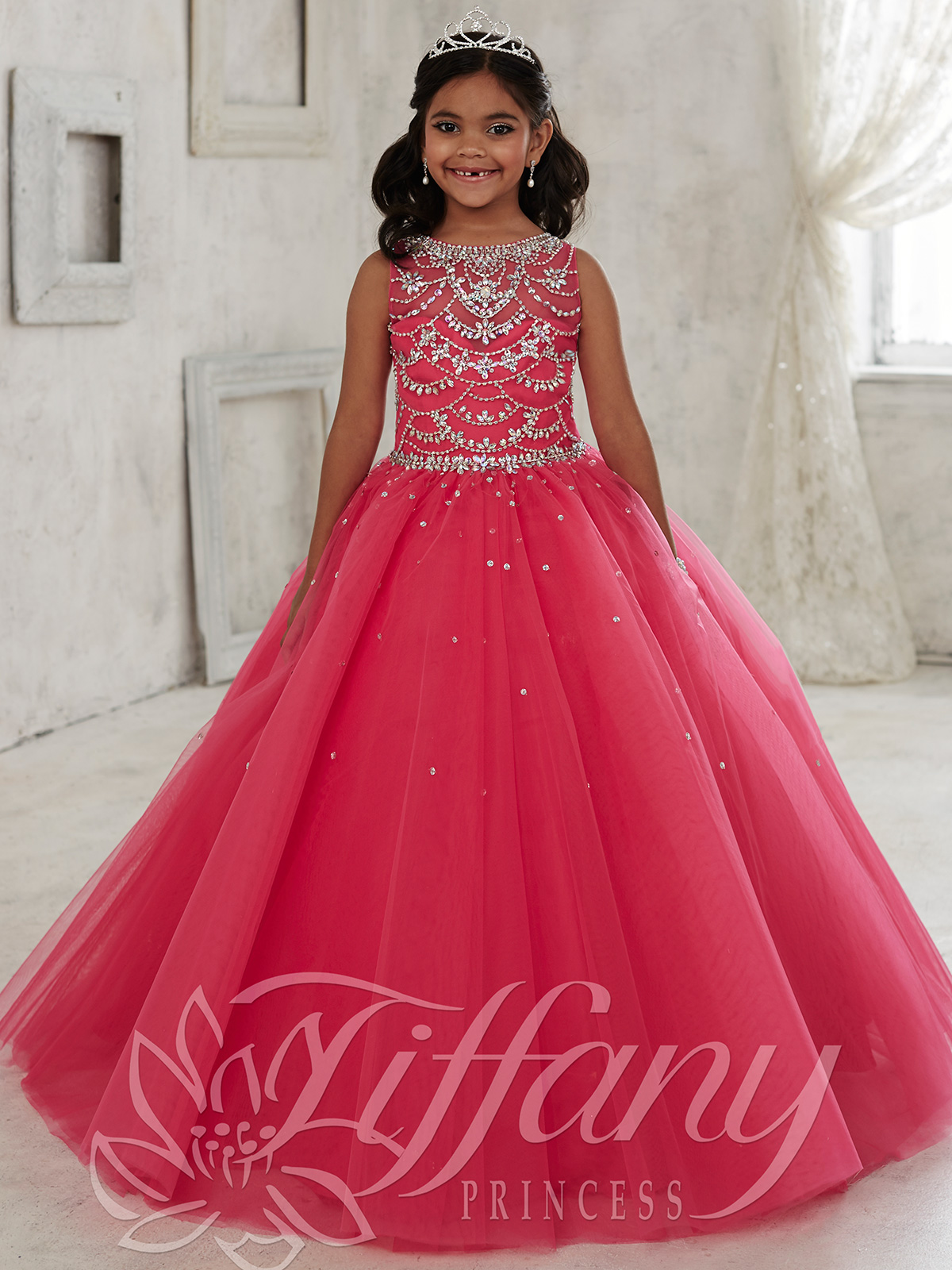 8a59505feb6 Tiffany Princess 13450 High Neckline Girls Pageant Dress ...