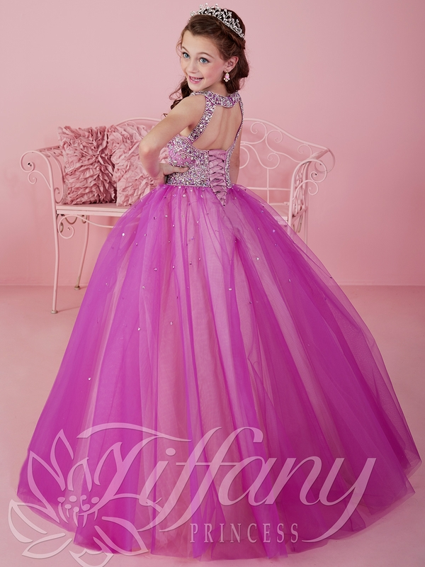Tiffany Princess 13460 Illusion Neckline Ball Gown Pageant Dress
