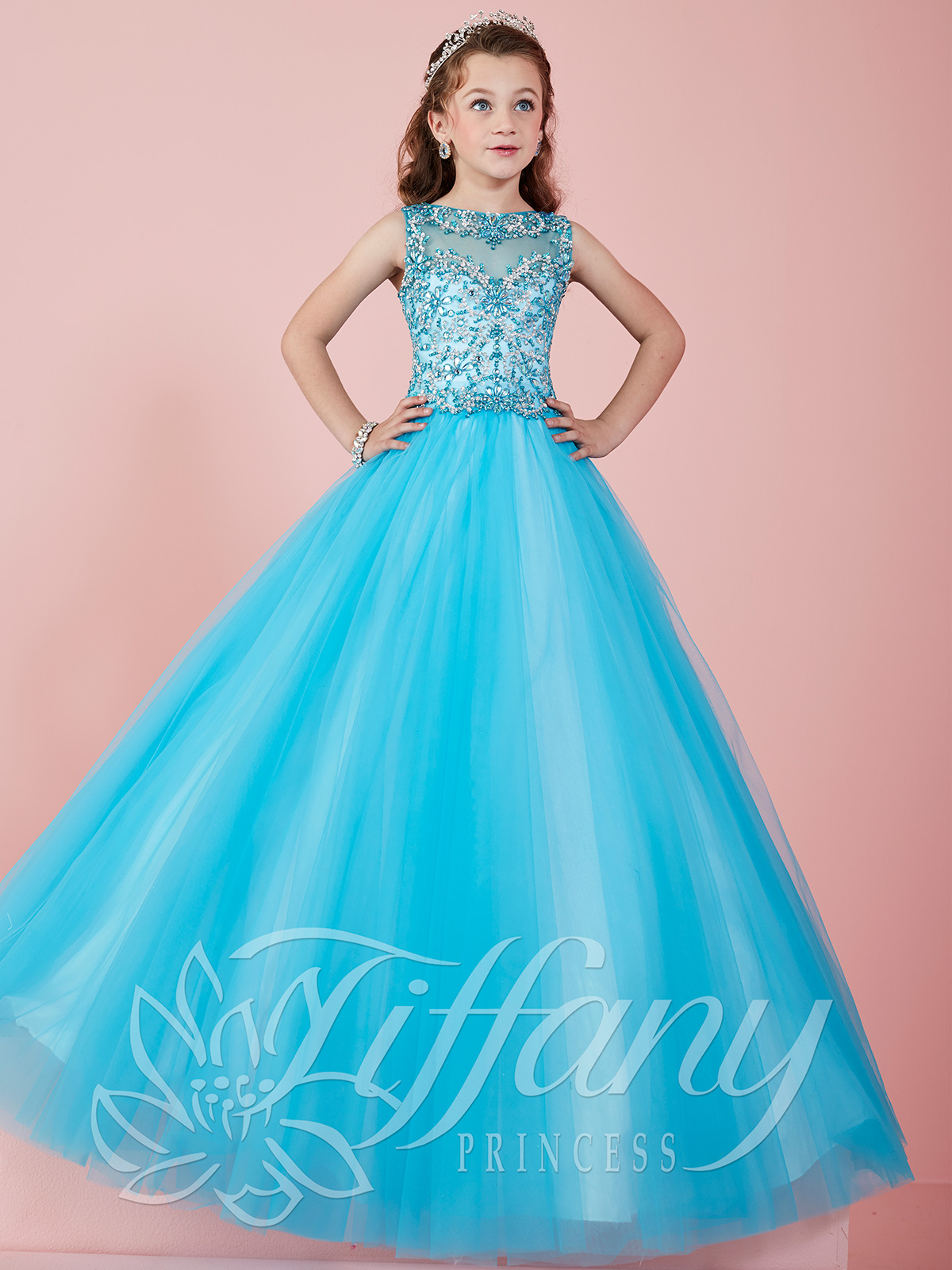 Tiffany Princess 13465 Illusion Neckline Ball Gown Pageant Dress ...