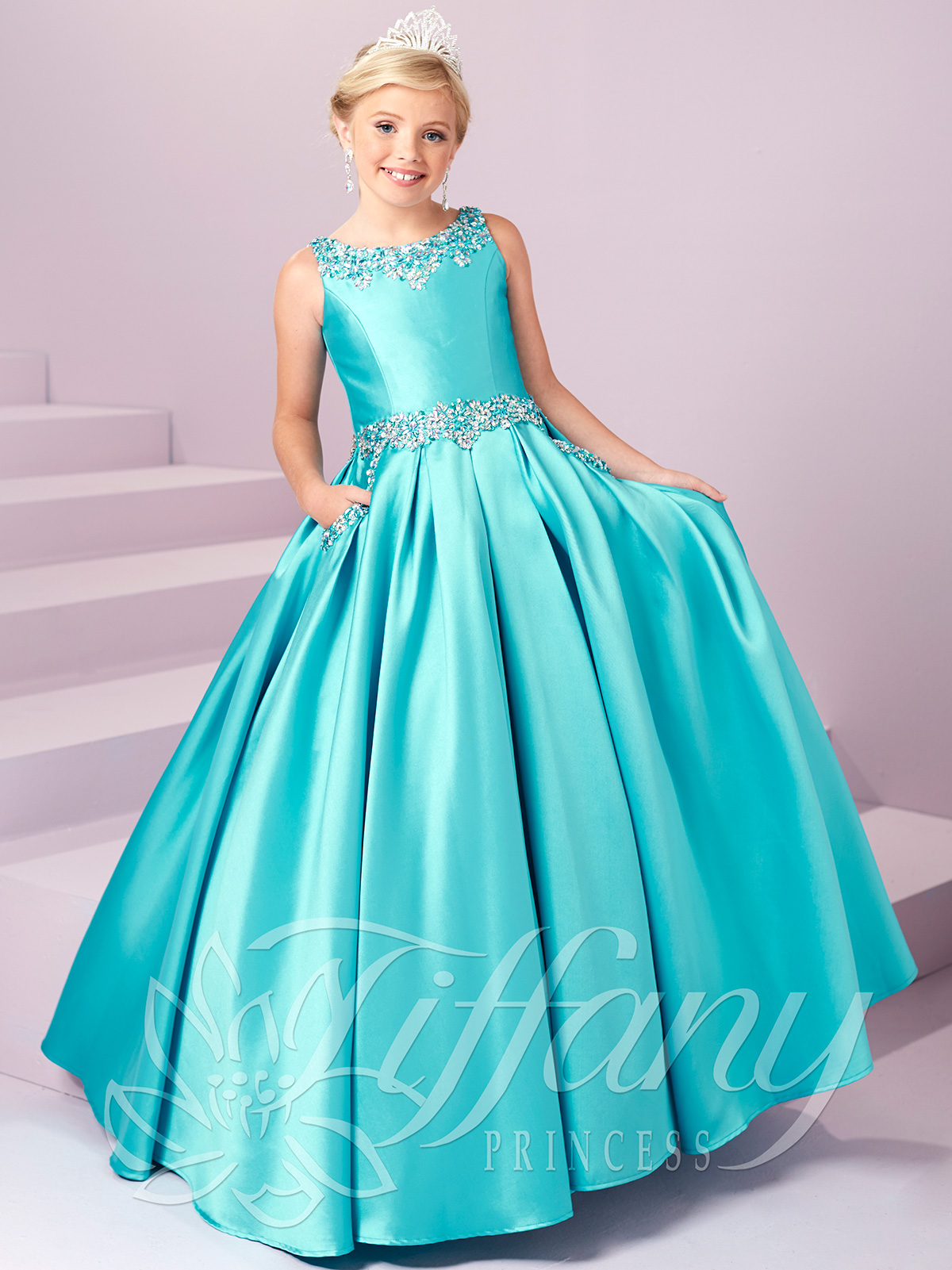 Tiffany Princess 13485 Beaded Pockets Pageant Gown|PageantDesigns.com