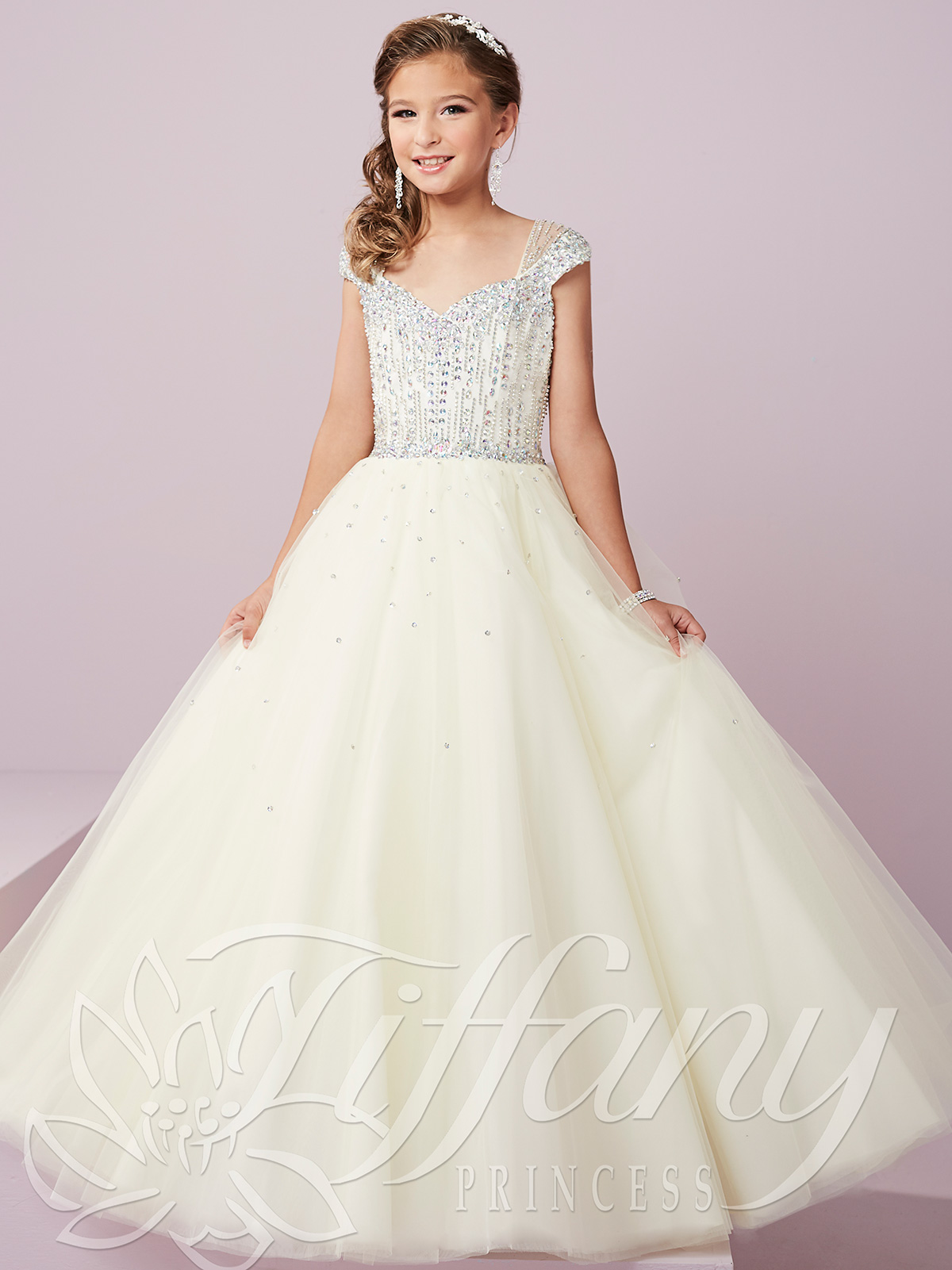 Tiffany Princess 13493 Cap Sleeved Pageant Gown|PageantDesigns.com