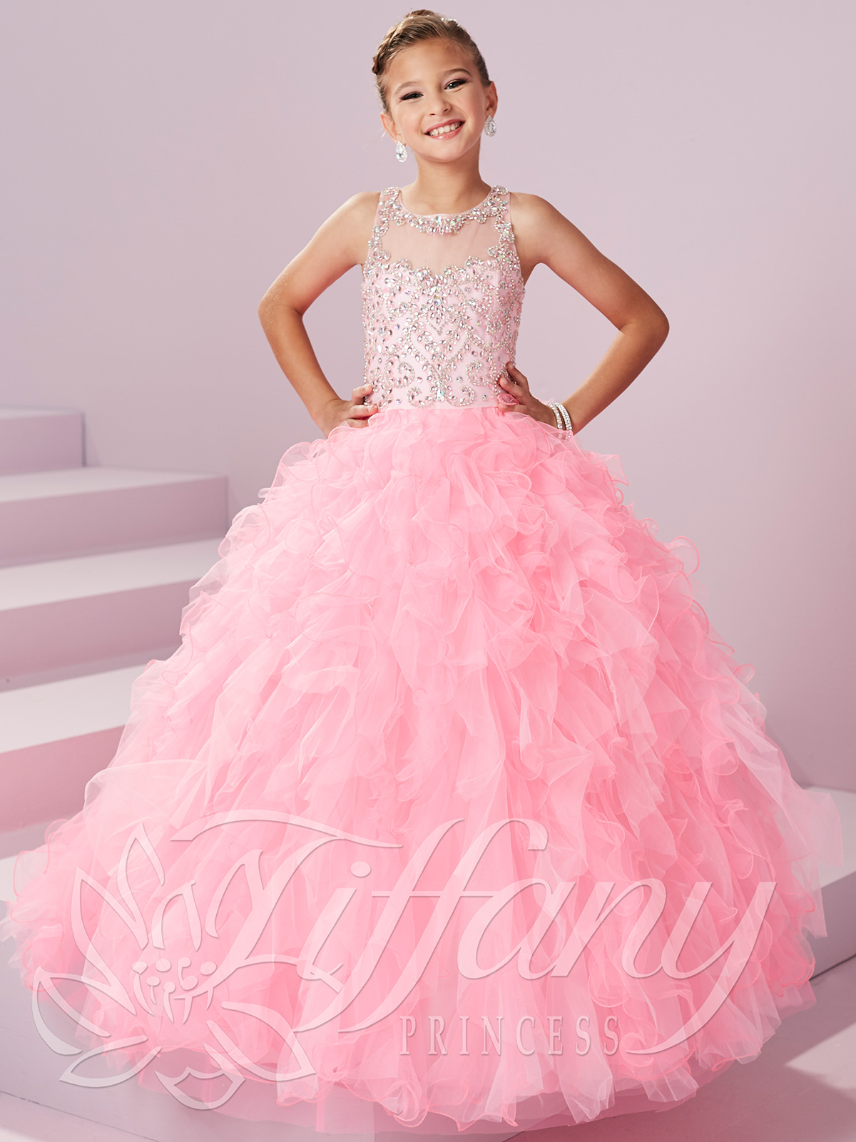 a27657eb618 Ruffled Skirt Pageant Dress by Tiffany Princess 13497