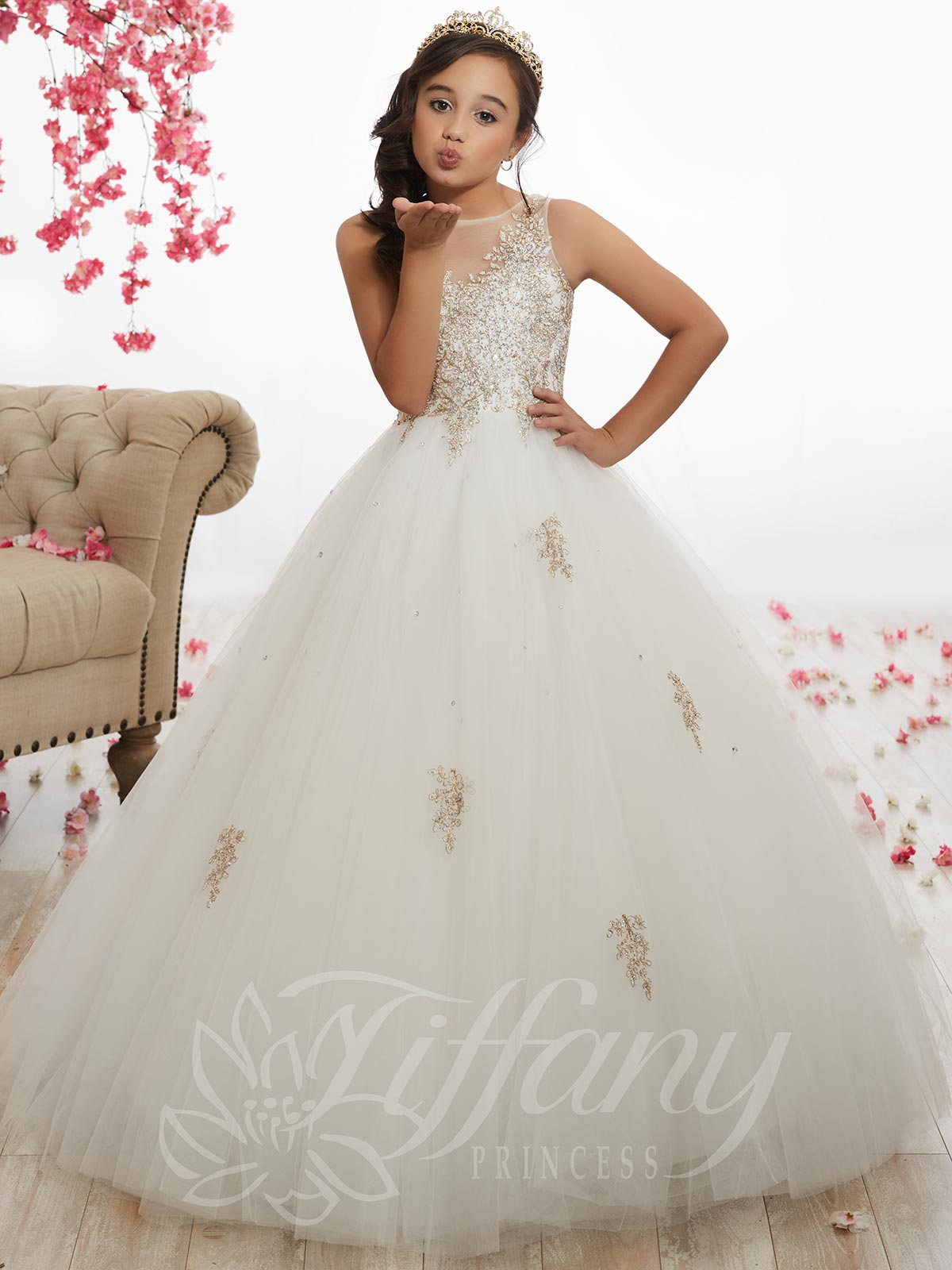 39cee0c994ad Beaded Tulle Ball Pageant Gown by Tiffany Princess 13523