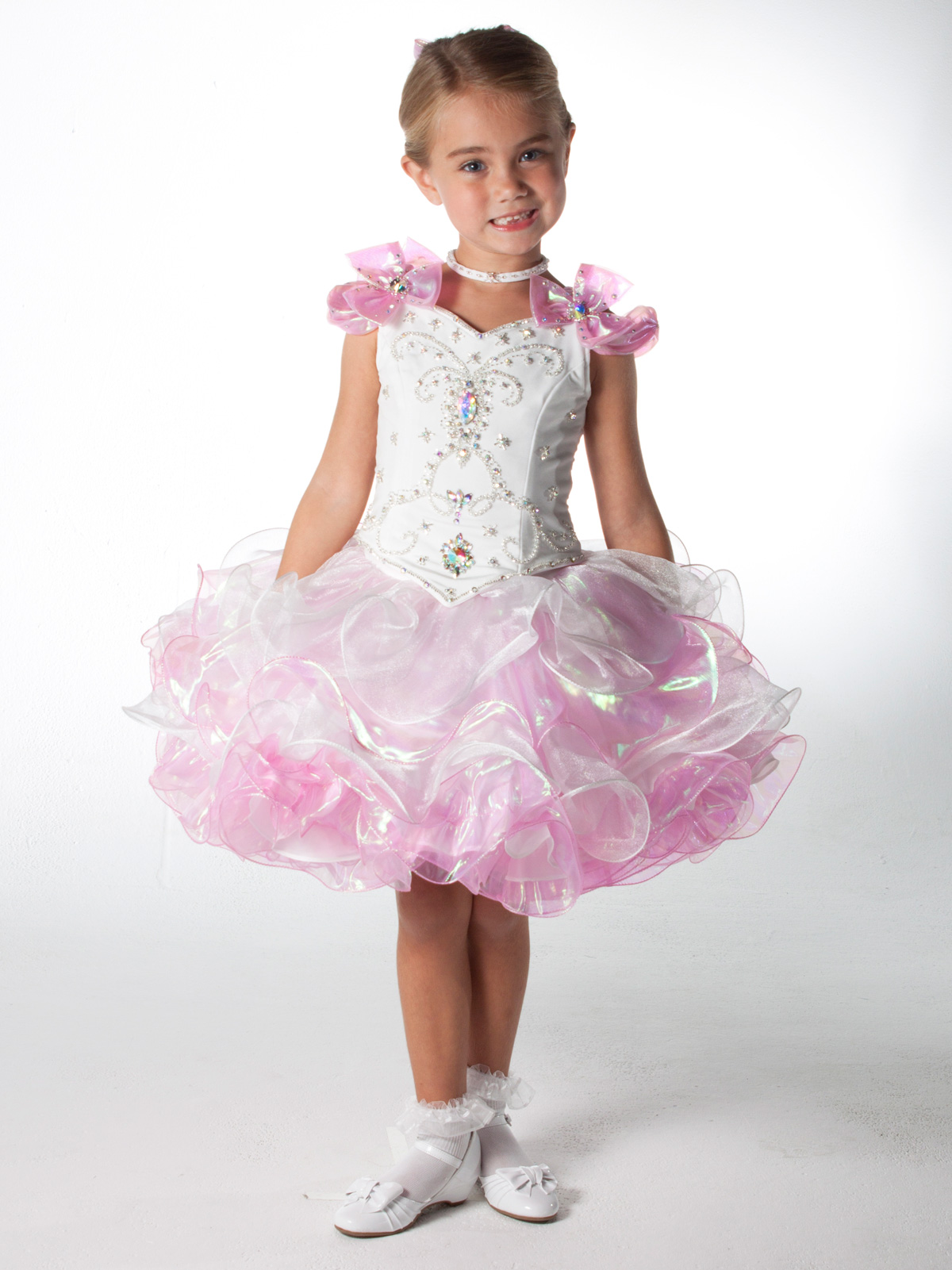 White/Pink Short Unique Fashion Pageant Dress UF1020 ...